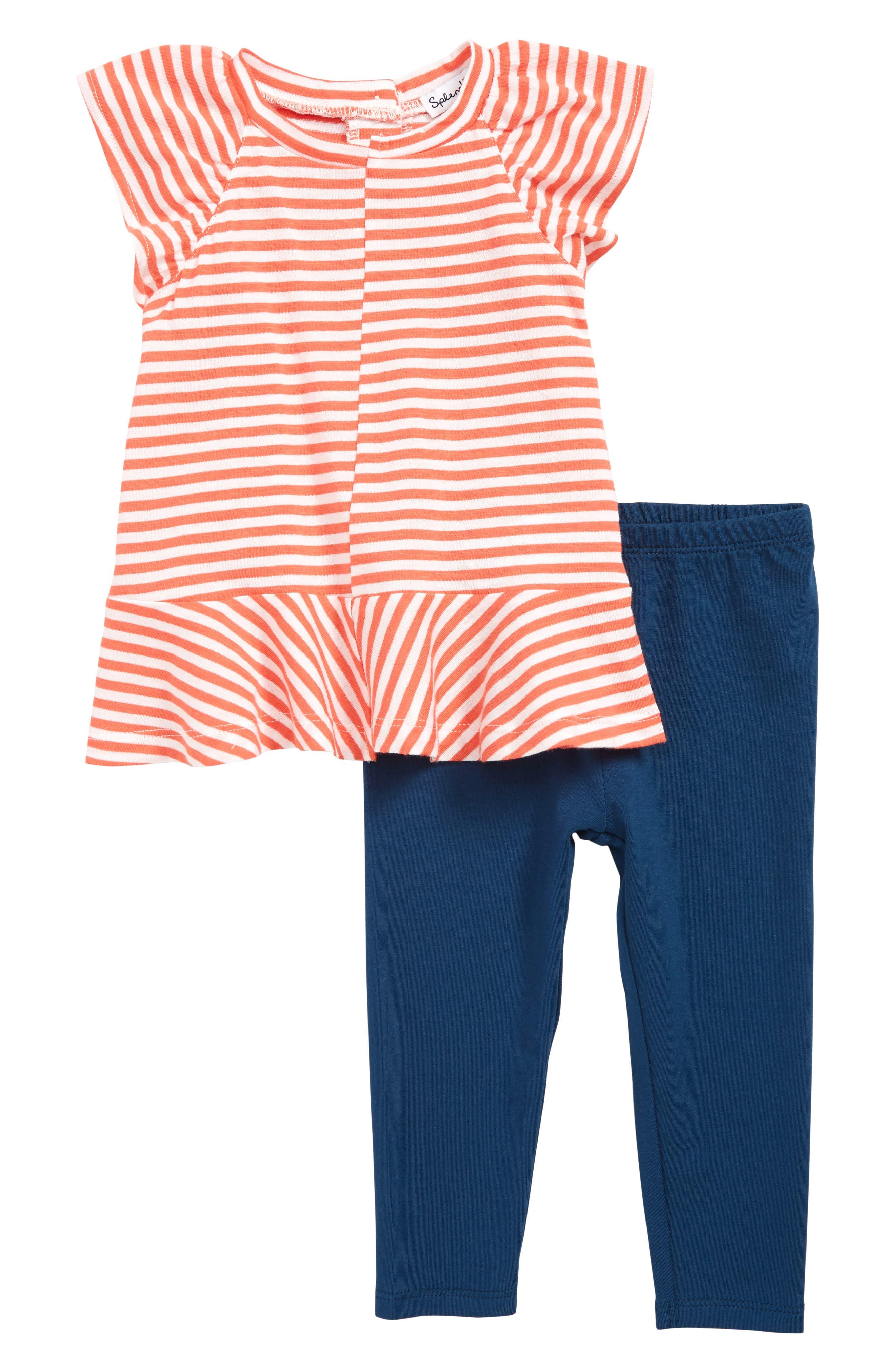 SPLENDID, Stripe Peplum T-Shirt & Leggings Set, Main thumbnail 1, color, CORAL LIPSTICK
