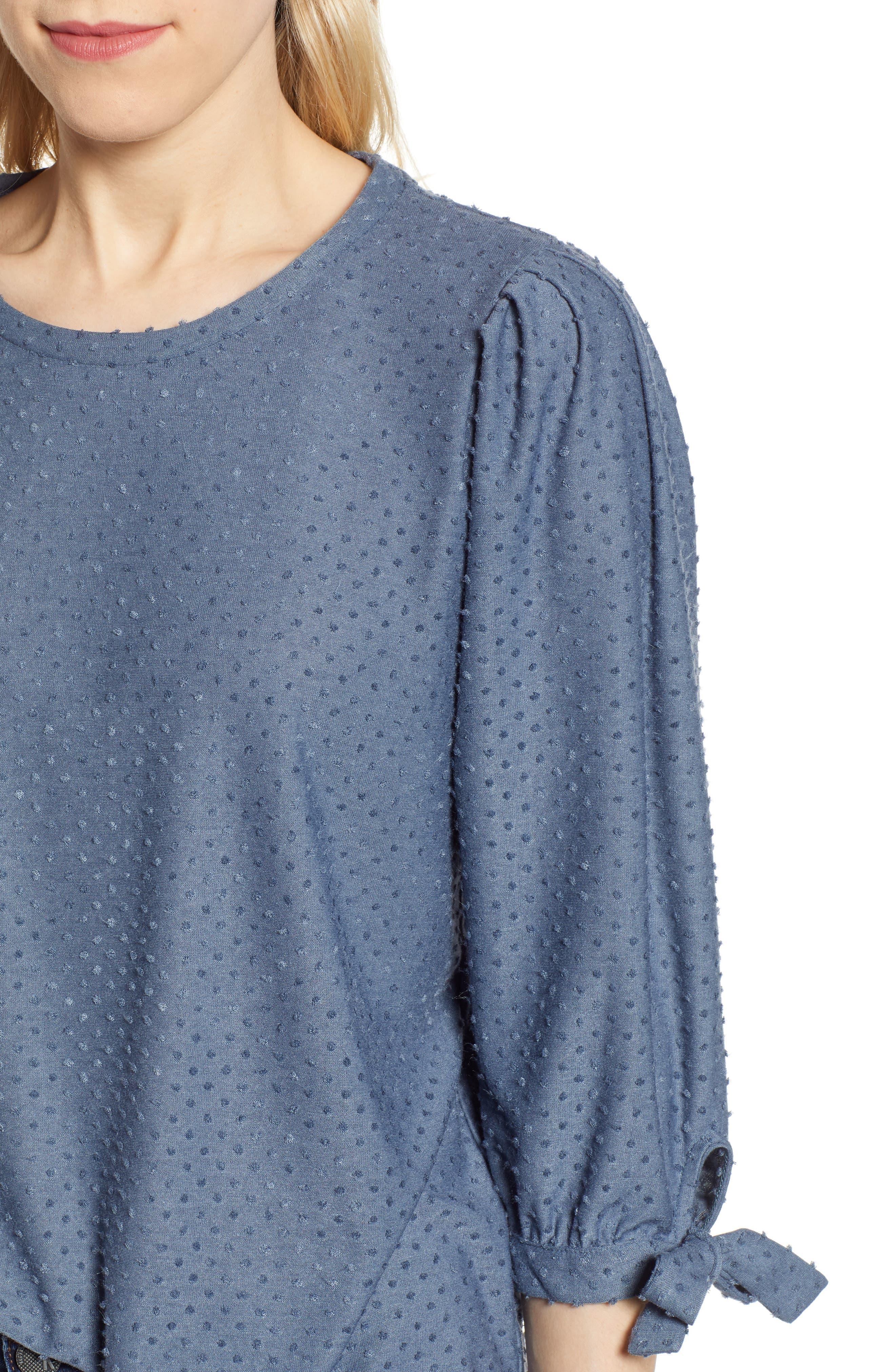 GIBSON, x International Women's Day Ruthie Clip Dot Tie Sleeve Blouse, Alternate thumbnail 4, color, DENIM