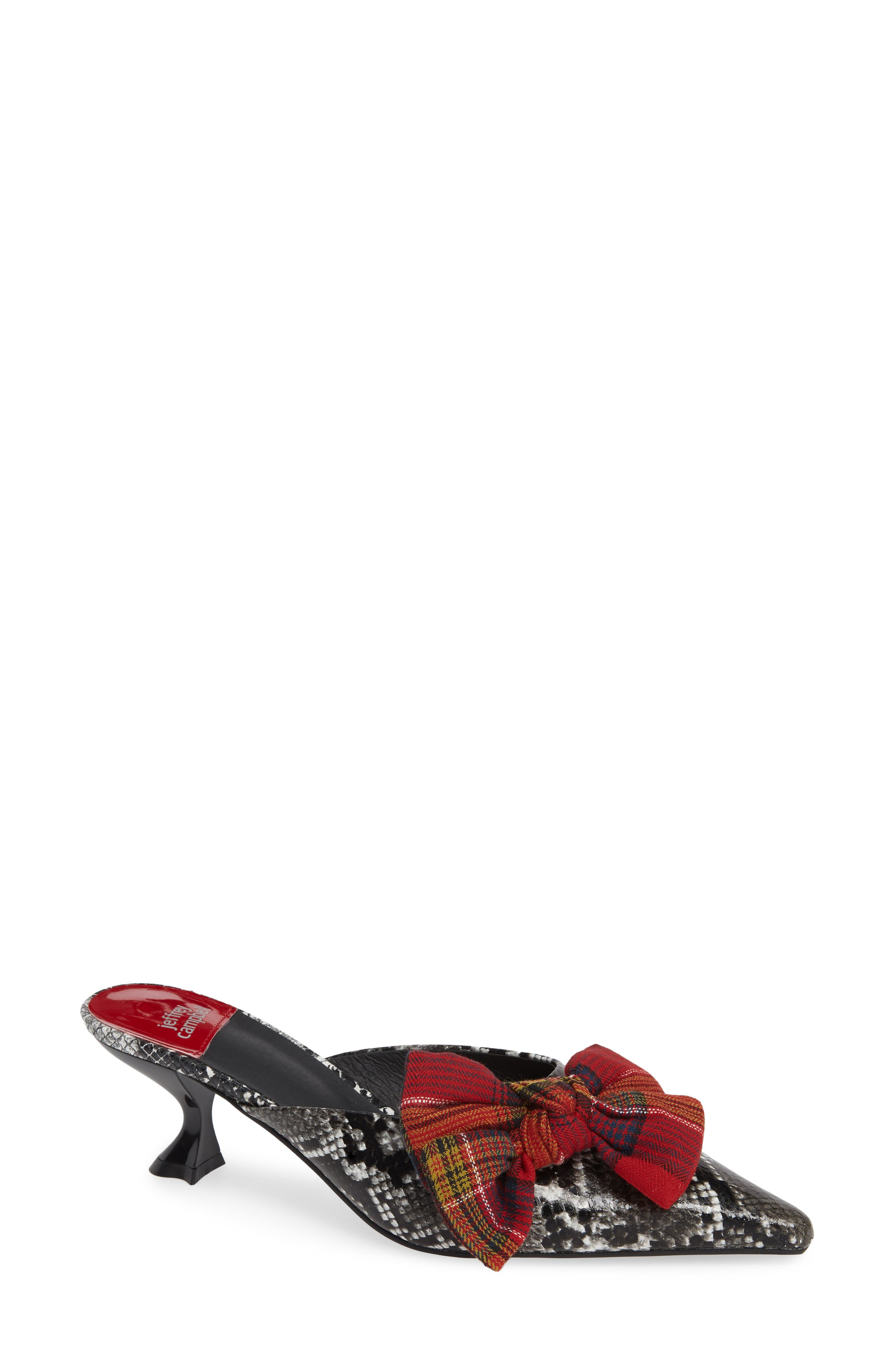 JEFFREY CAMPBELL Adorn Pointy Toe Mule, Main, color, GREY BLACK SNAKE / RED PLAID