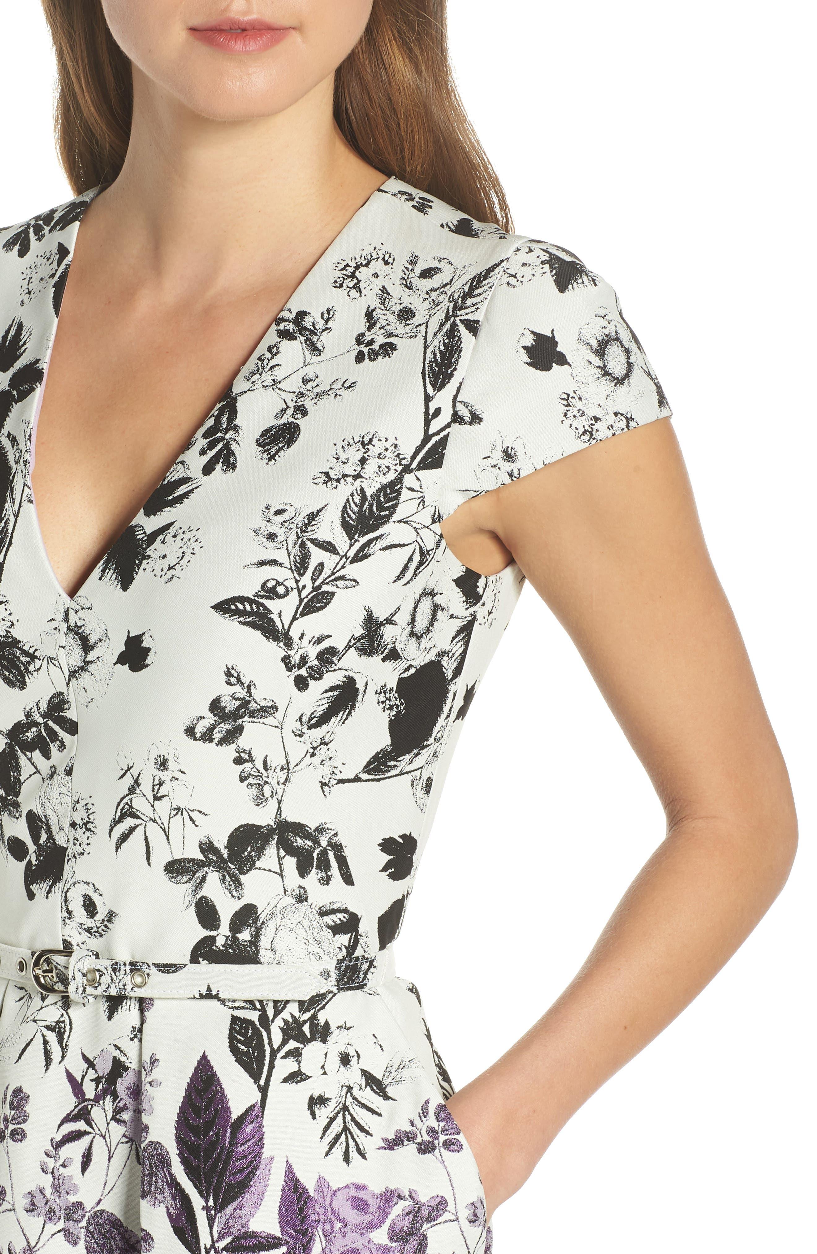 VINCE CAMUTO, Floral Jacquard Fit and Flare Dress, Alternate thumbnail 5, color, PURPLE MULTI