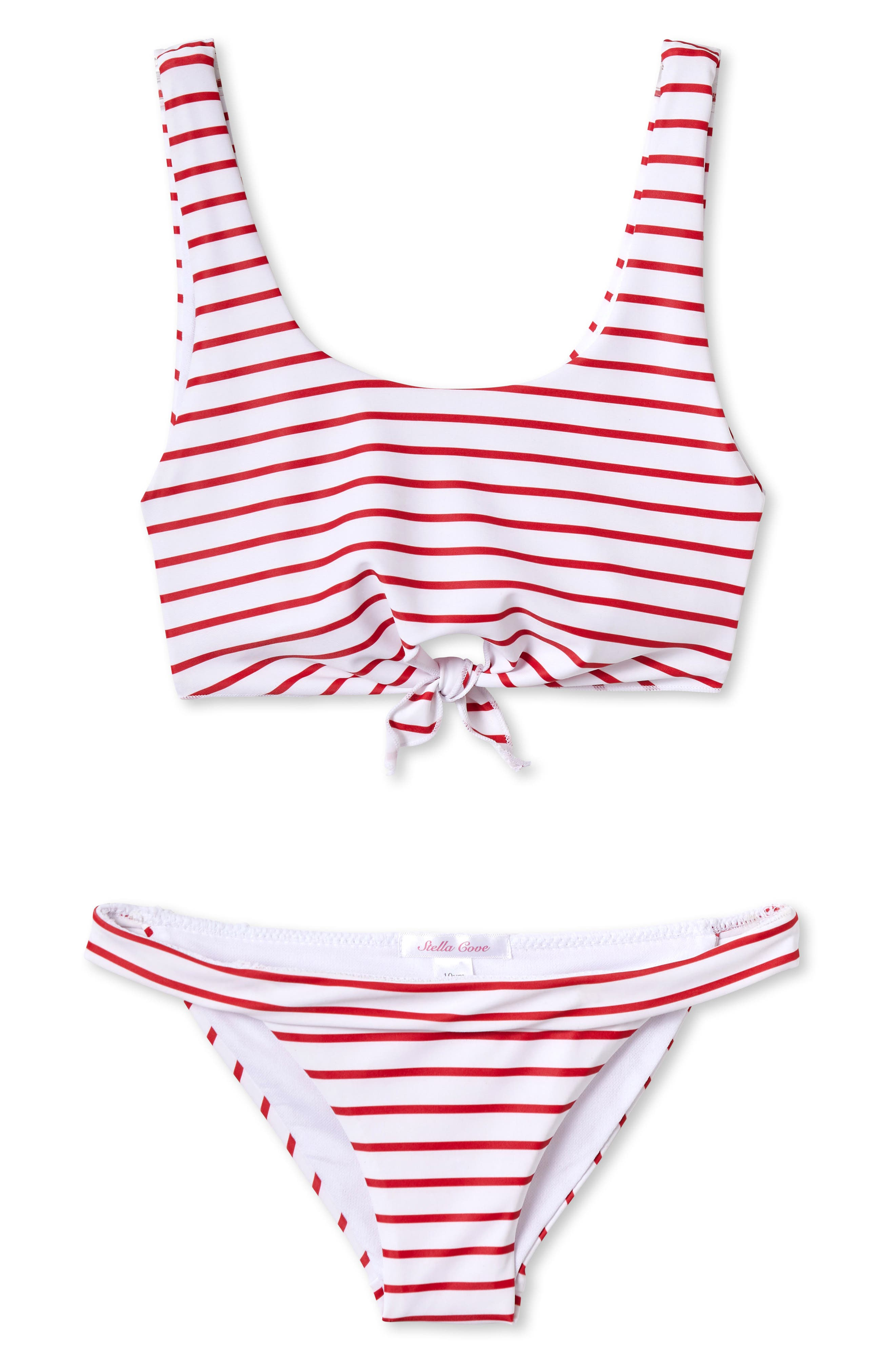 STELLA COVE, Stripe Two-Piece Swimsuit, Main thumbnail 1, color, RED