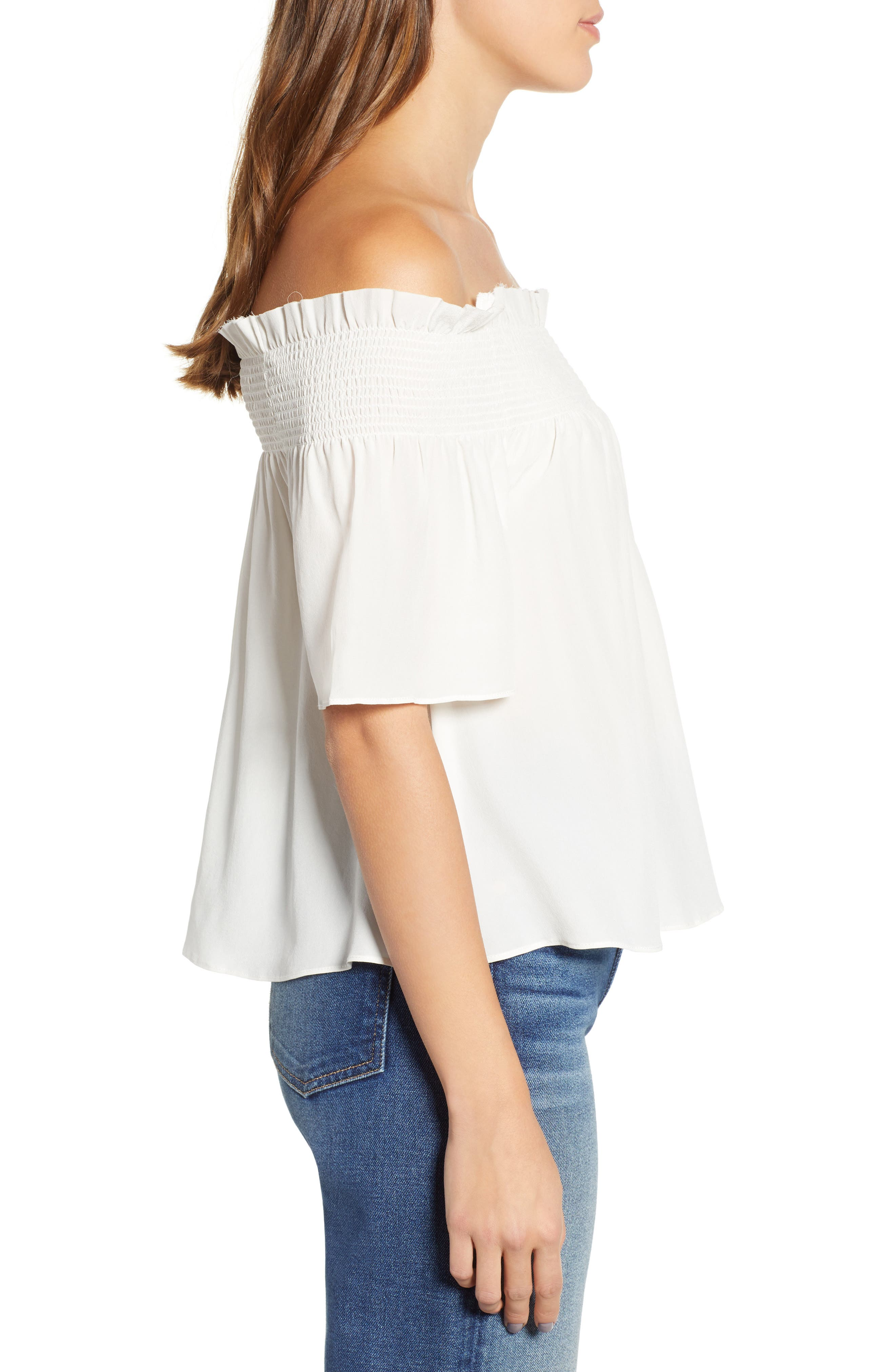 7 FOR ALL MANKIND<SUP>®</SUP>, Off the Shoulder Smocked Silk Top, Alternate thumbnail 3, color, NATURAL WHITE