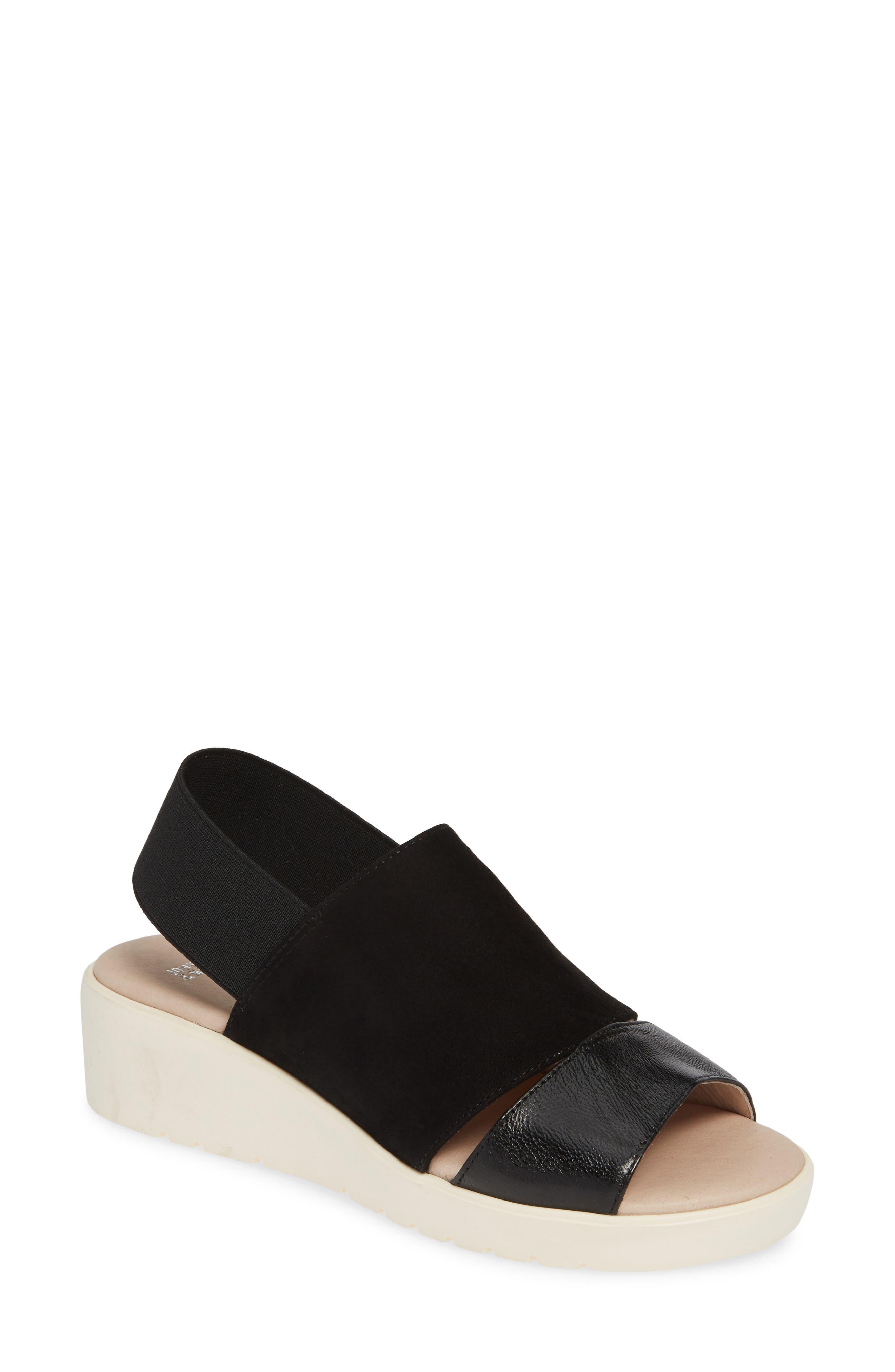 JOHNSTON & MURPHY, Cassandra Slingback Platform Sandal, Main thumbnail 1, color, BLACK LEATHER