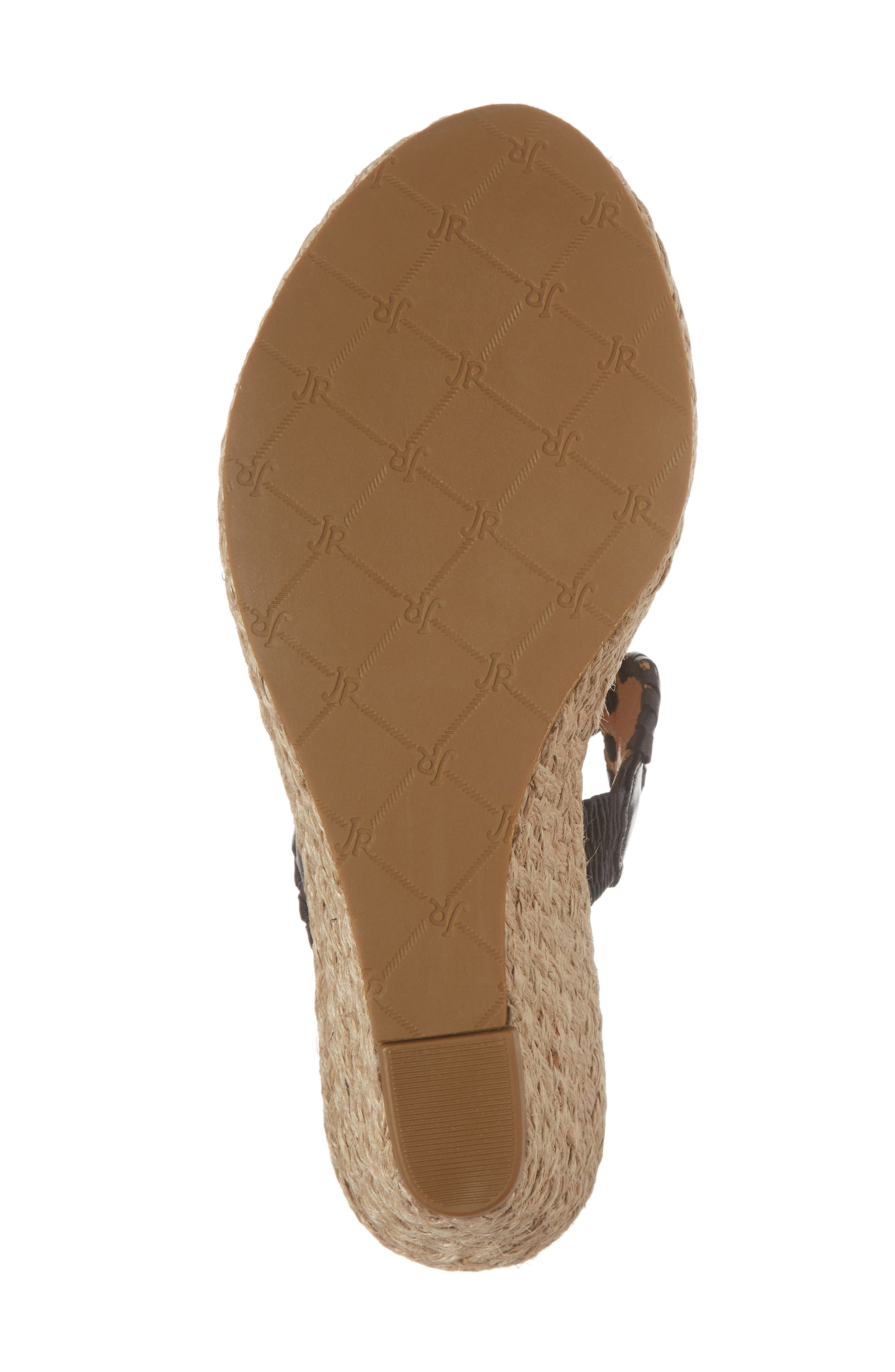 JACK ROGERS, 'Shelby' Whipstitched Wedge Sandal, Alternate thumbnail 6, color, 001