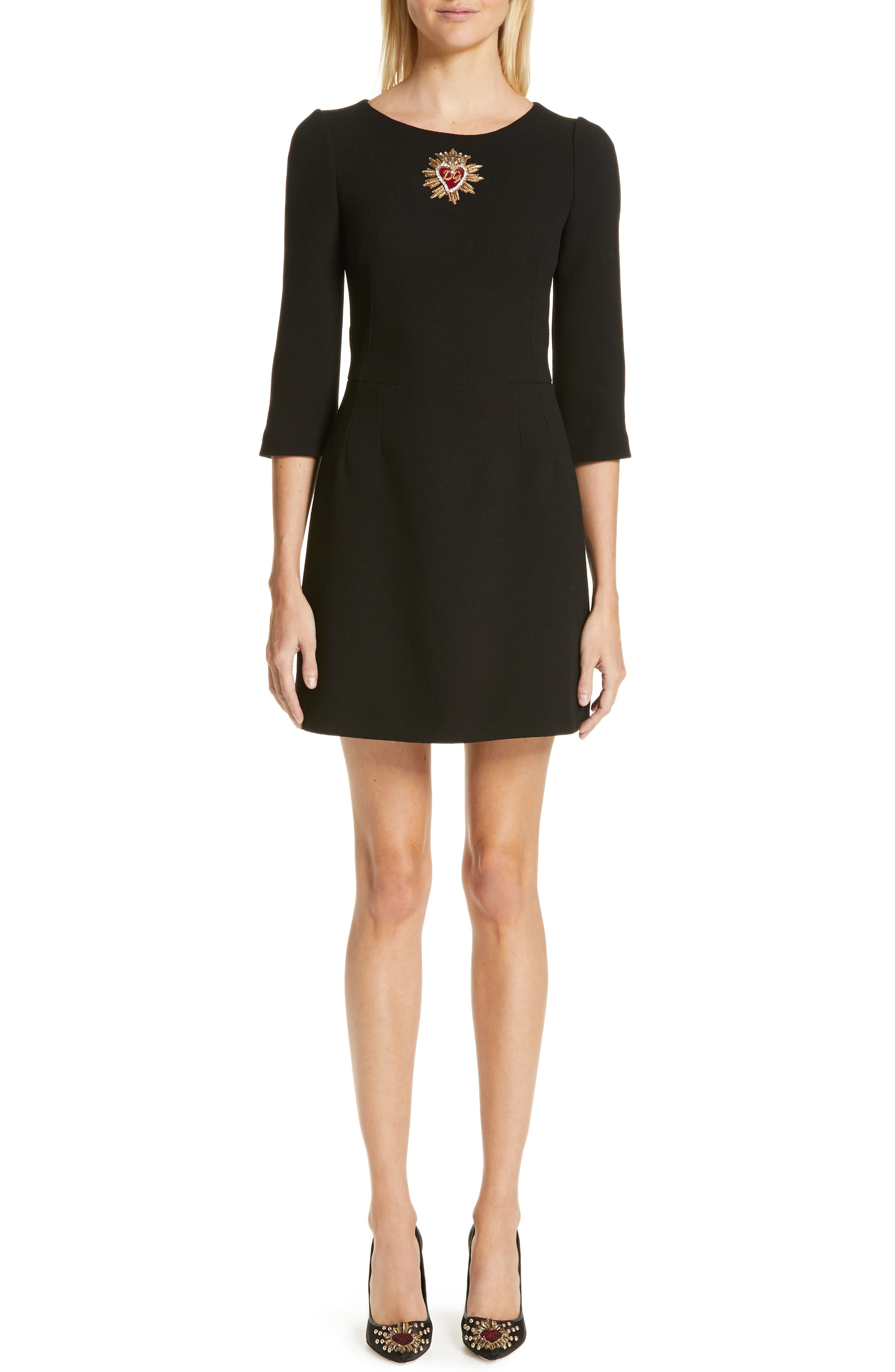 Dolce & gabbana Heart Embellished Crepe Dress, US / 44 IT - Black