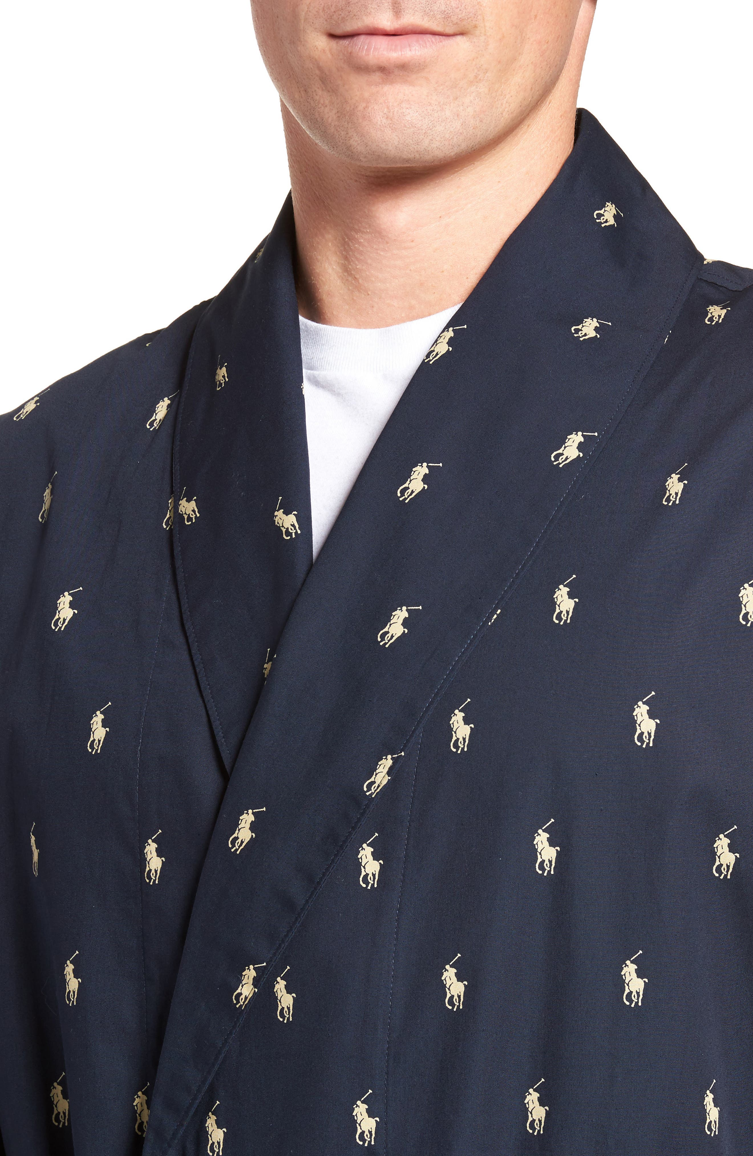 POLO RALPH LAUREN, 'Polo Player' Cotton Robe, Alternate thumbnail 4, color, 410