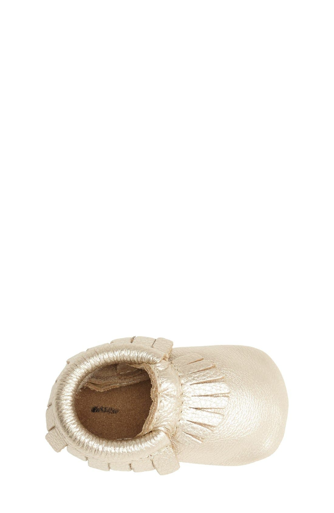 FRESHLY PICKED, Metallic Leather Moccasin, Alternate thumbnail 4, color, PLATINUM
