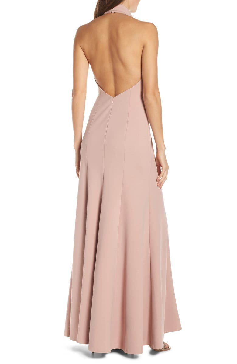 a732953e39 Jenny Yoo Petra Halter Crepe Evening Dress In Whipped Apricot
