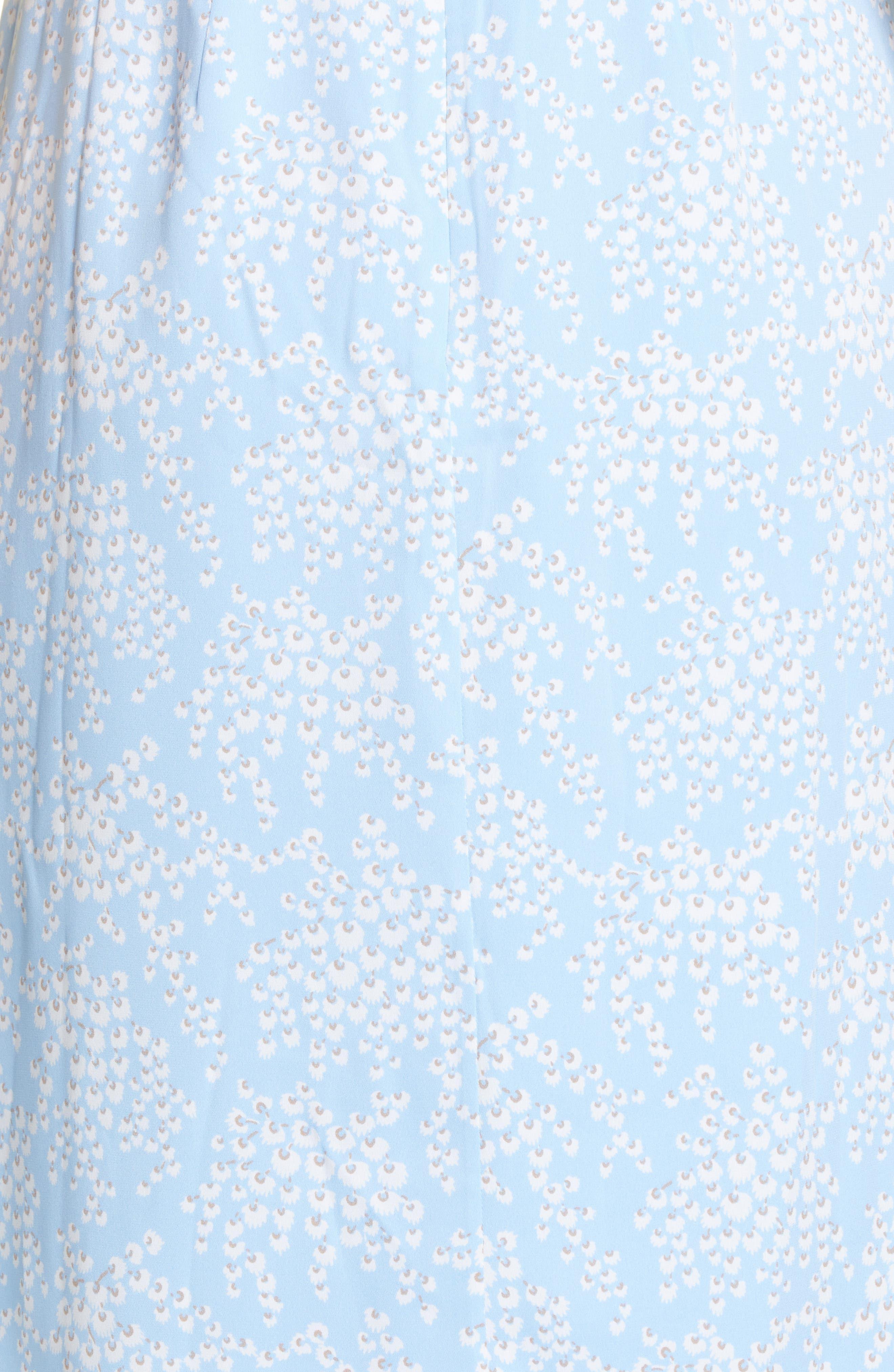 LEWIT, Kimono Sleeve Stretch Silk Dress, Alternate thumbnail 6, color, BLUE SIDDAL FLORAL