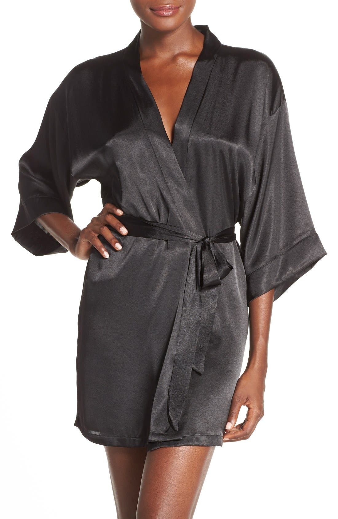 IN BLOOM BY JONQUIL, Satin Robe, Main thumbnail 1, color, BLACK