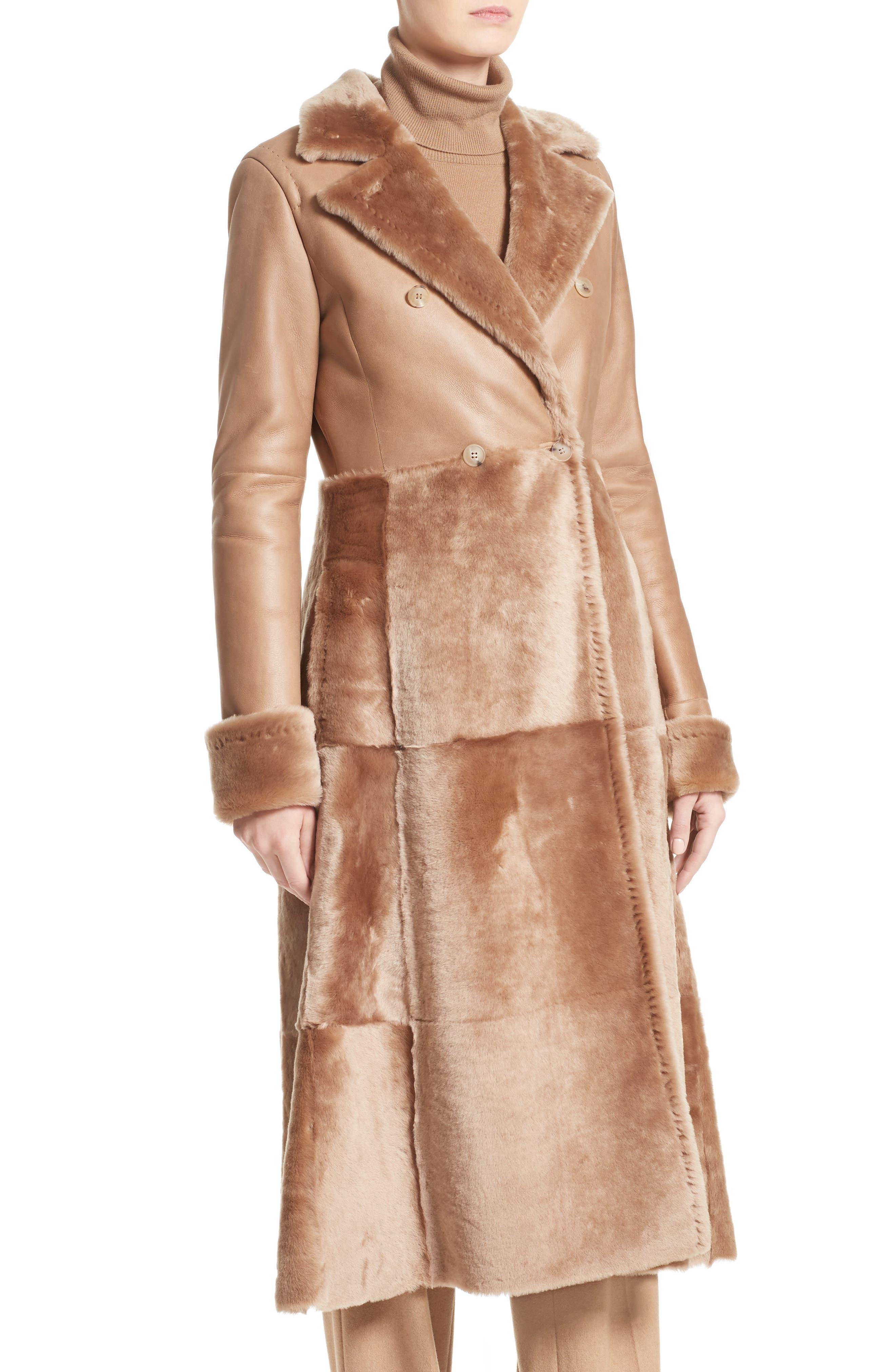MAX MARA, Rimini Genuine Shearling Coat, Alternate thumbnail 4, color, CAMEL