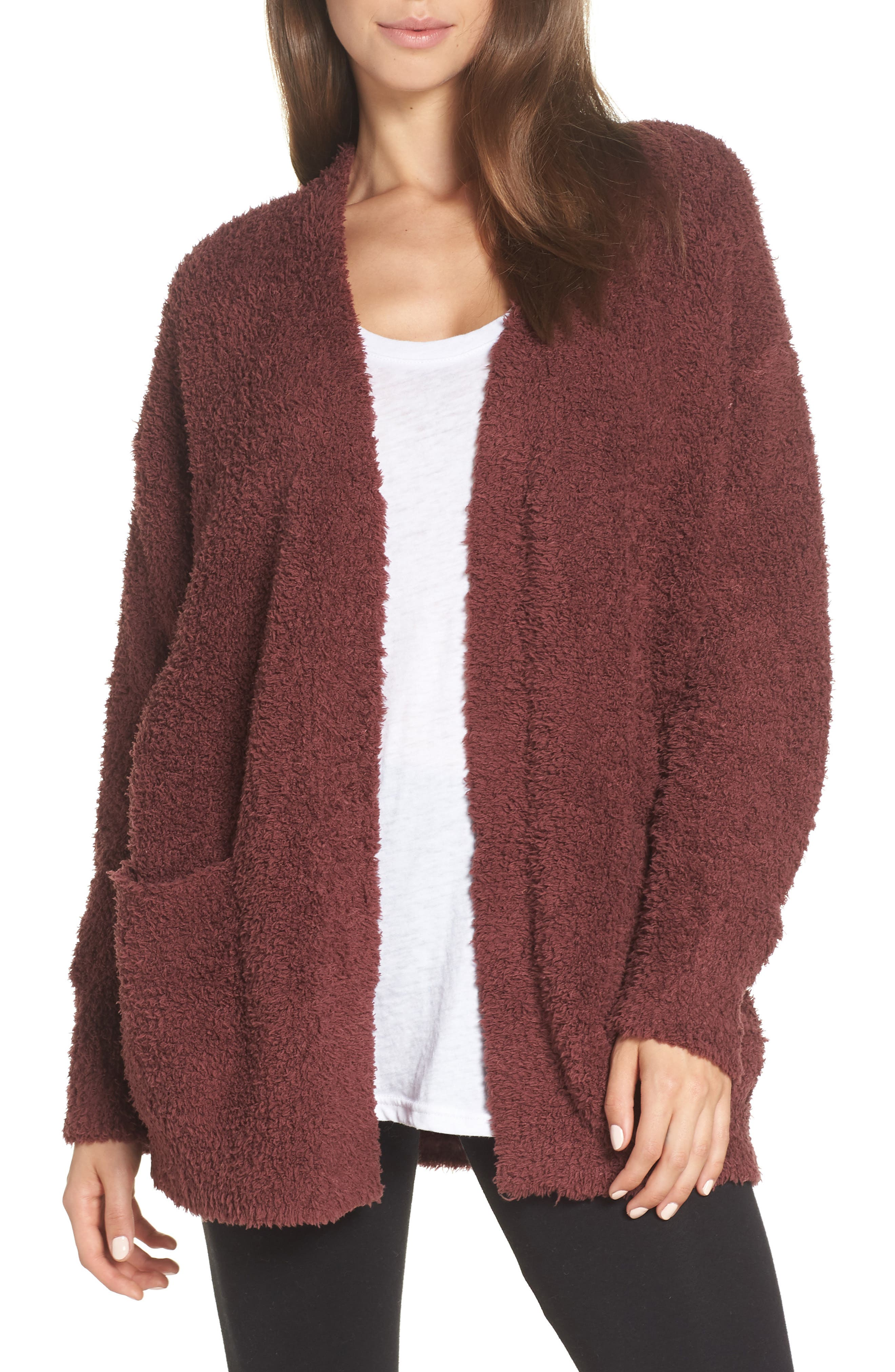 BAREFOOT DREAMS<SUP>®</SUP>, CozyChic<sup>®</sup> Cardigan, Main thumbnail 1, color, ROSEWOOD