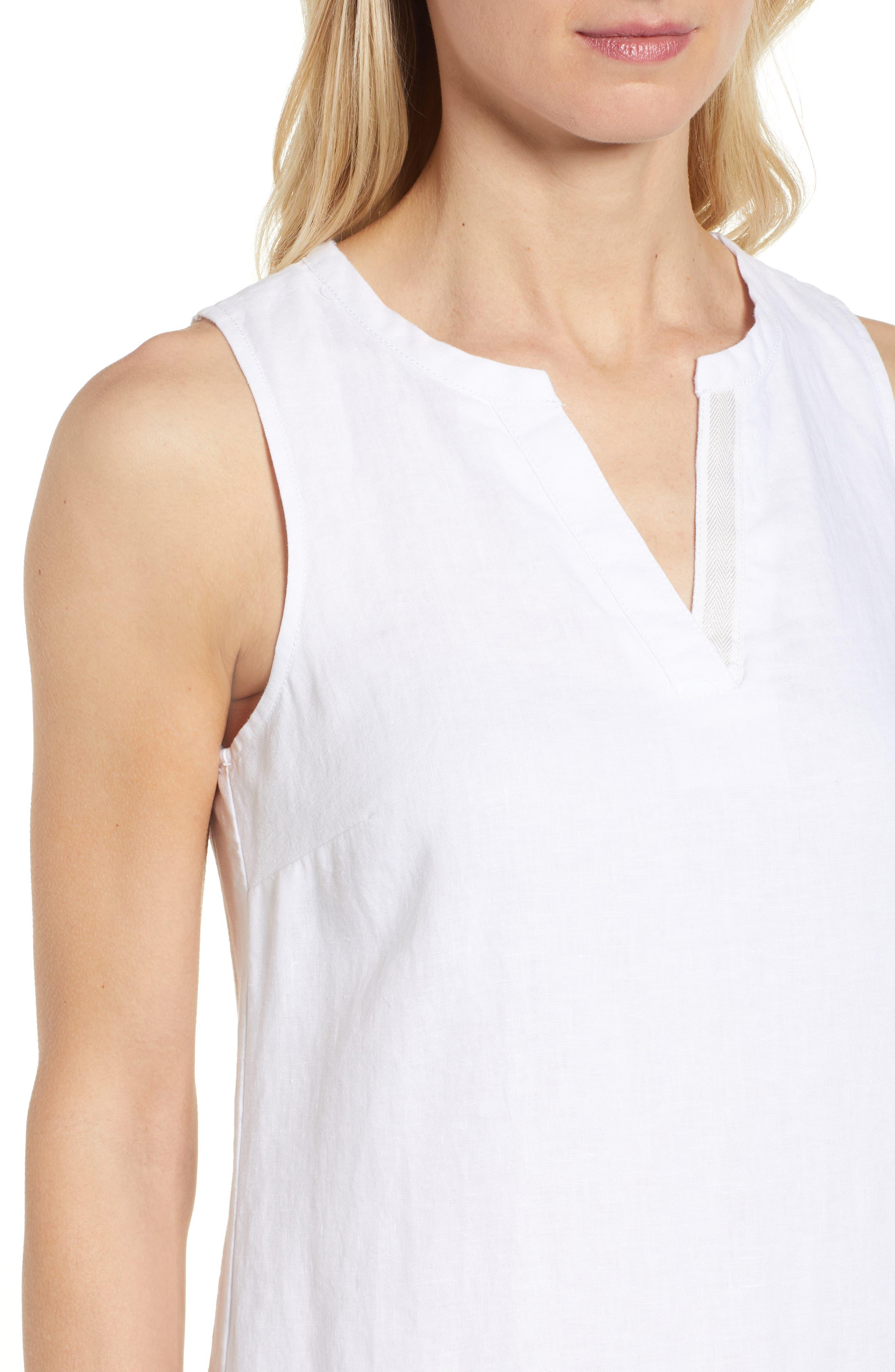 TOMMY BAHAMA, Sea Glass Linen Shift Dress, Alternate thumbnail 5, color, WHITE