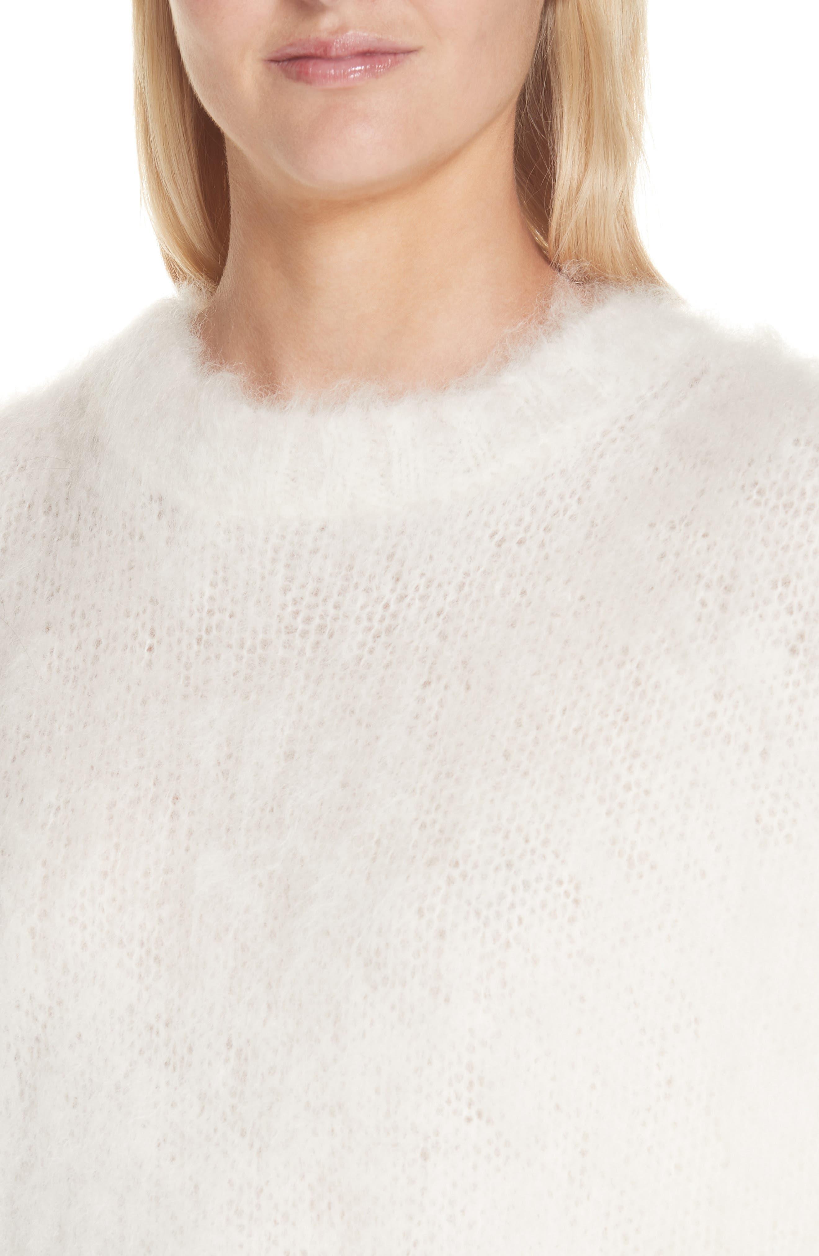 HELMUT LANG, Mohair Blend Sweater, Alternate thumbnail 4, color, NATURAL WHITE