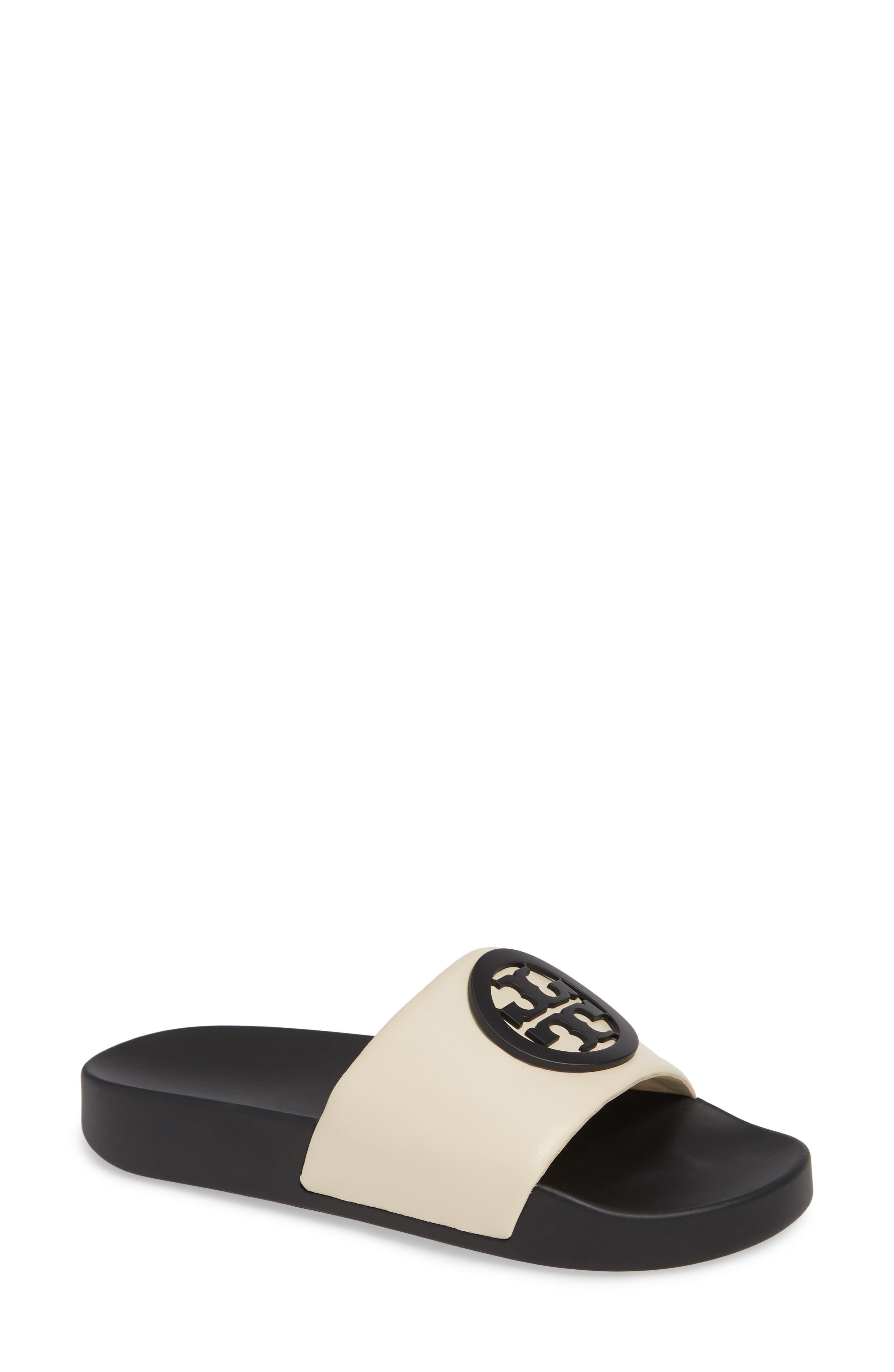TORY BURCH Lina Slide Sandal, Main, color, NEW CREAM/ PERFECT BLACK