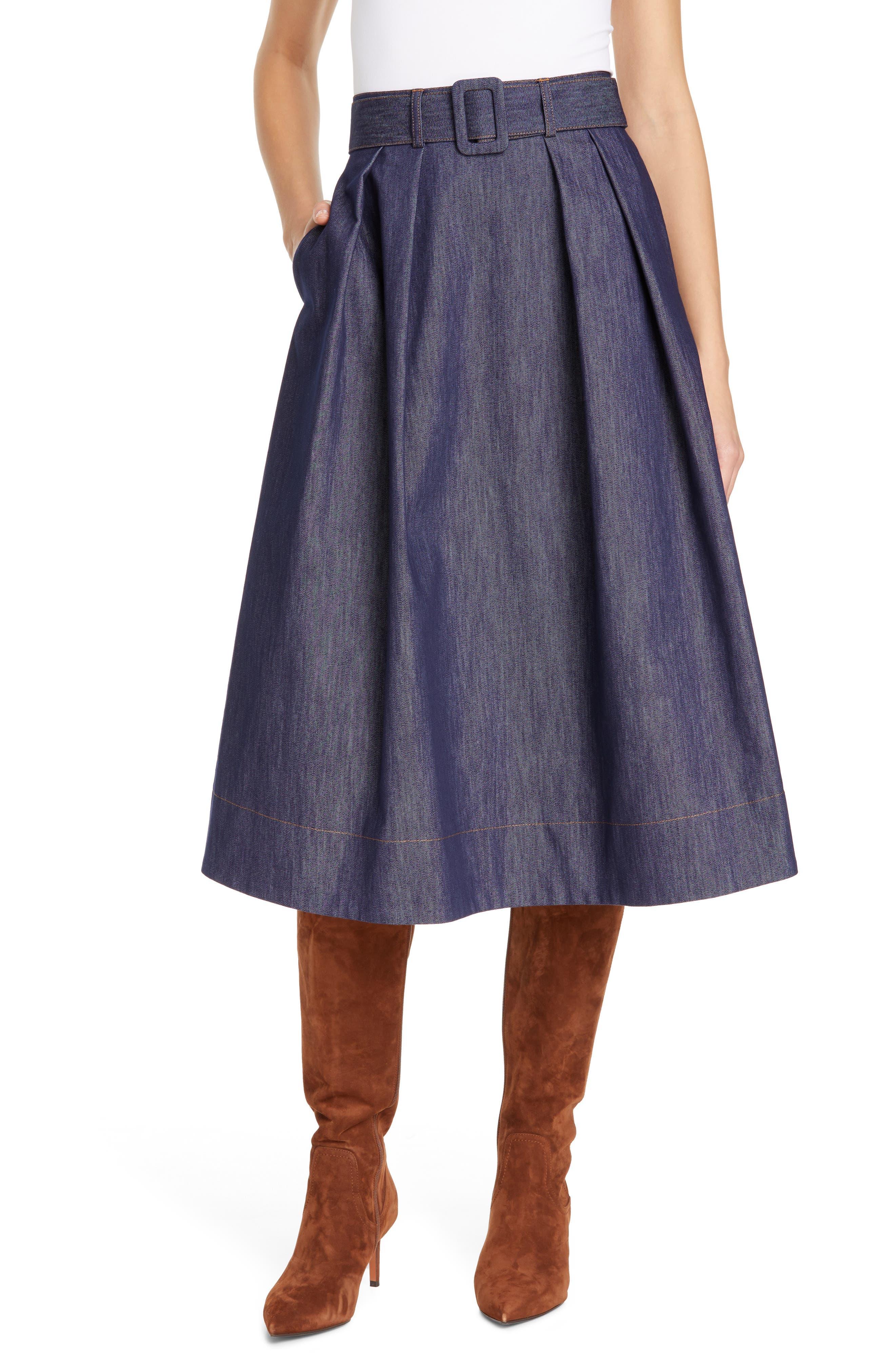TOMMY X ZENDAYA, Belted Denim Skirt, Main thumbnail 1, color, 402
