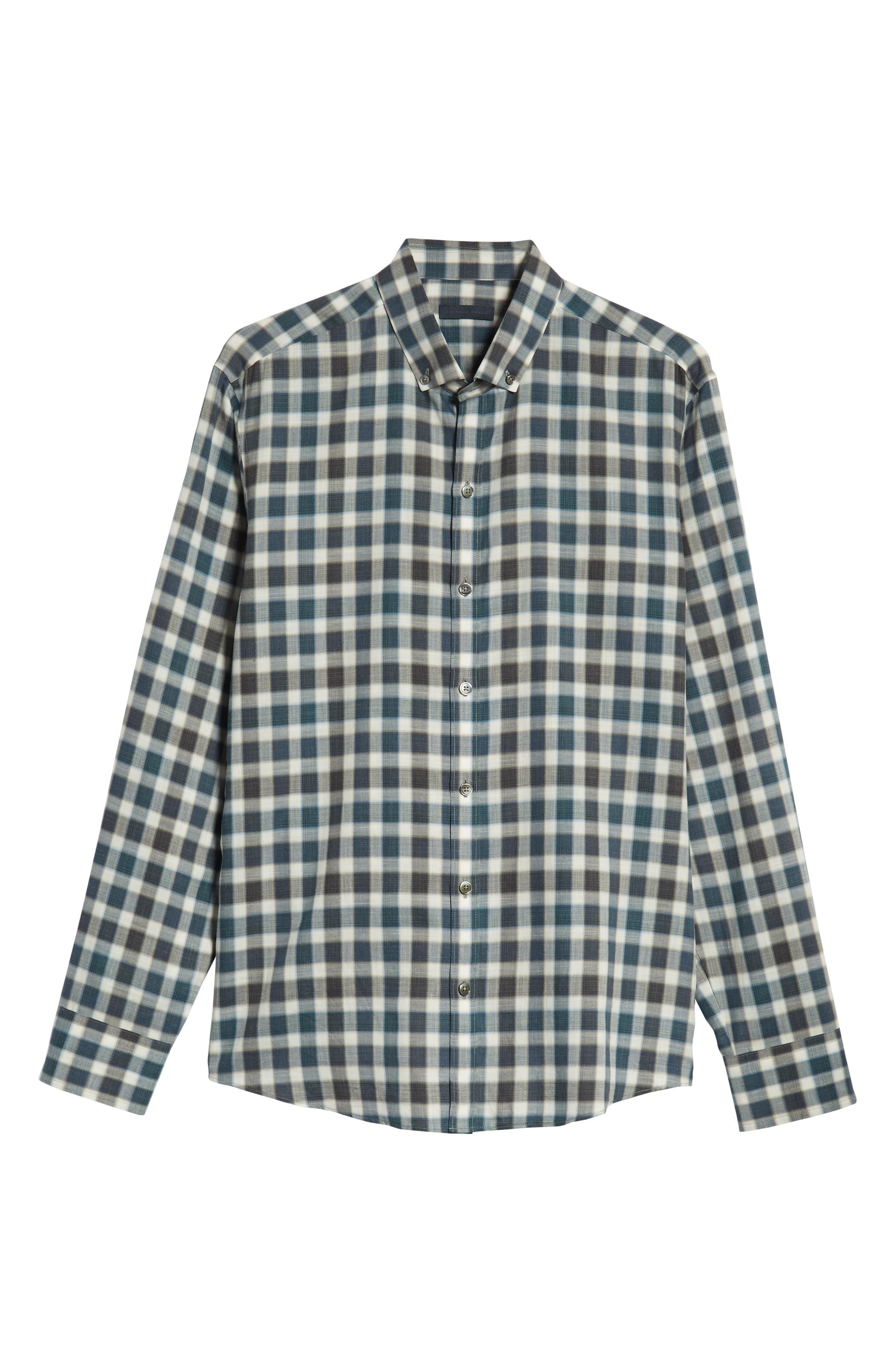 ZACHARY PRELL, Buffa Regular Fit Plaid Flannel Sport Shirt, Alternate thumbnail 5, color, DARK TEAL