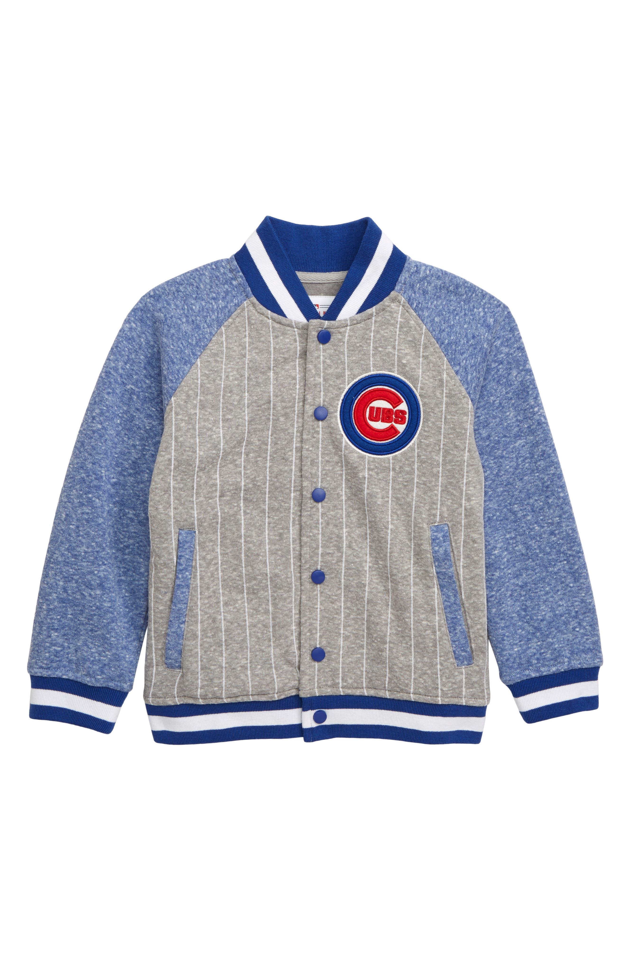 MAJESTIC MLB, Chicago Cubs Pride Fleece Bomber Jacket, Main thumbnail 1, color, ROYAL BLUE