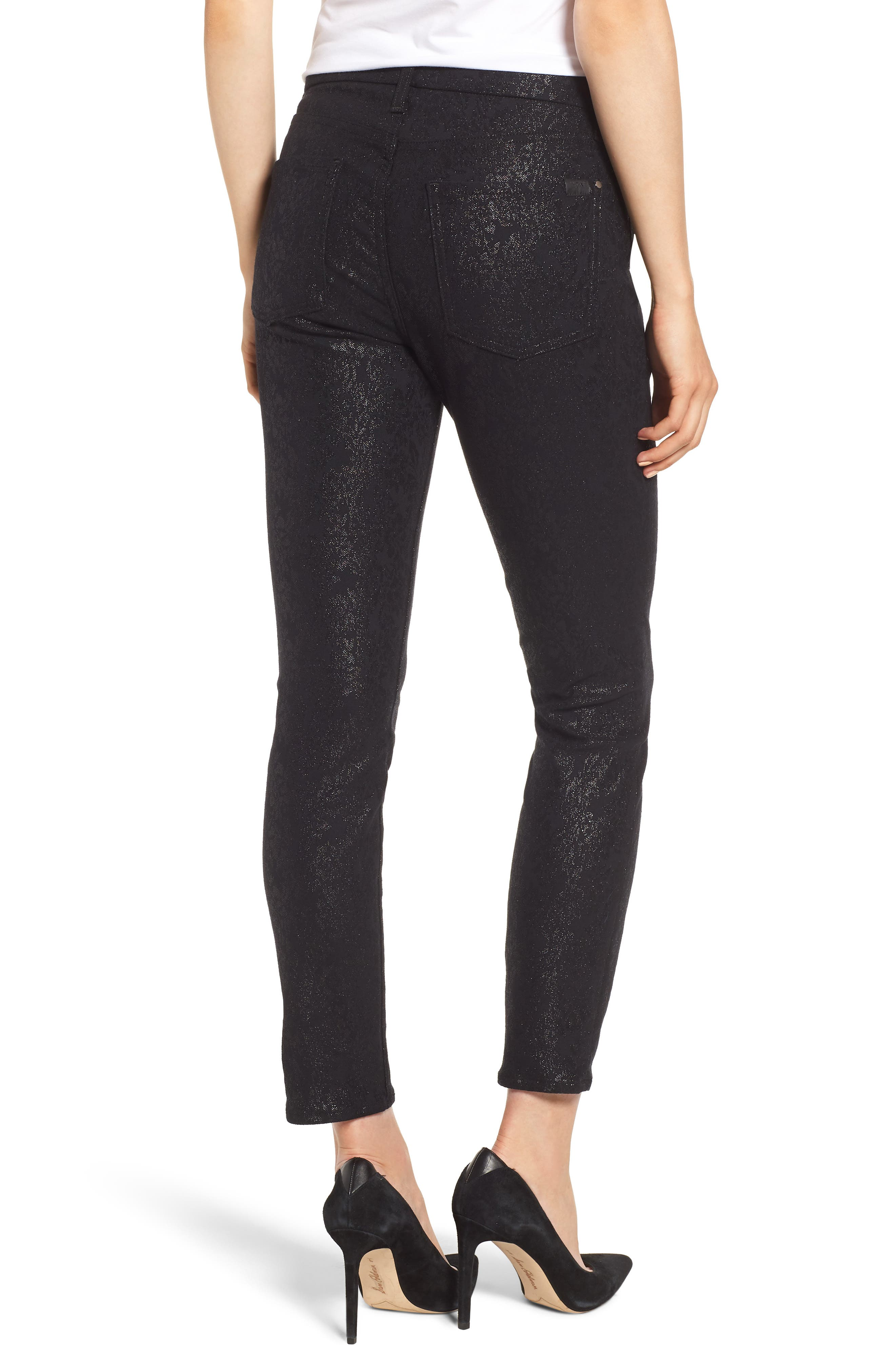 JEN7 BY 7 FOR ALL MANKIND, Floral Metallic Ankle Skinny Jeans, Alternate thumbnail 2, color, BLACK
