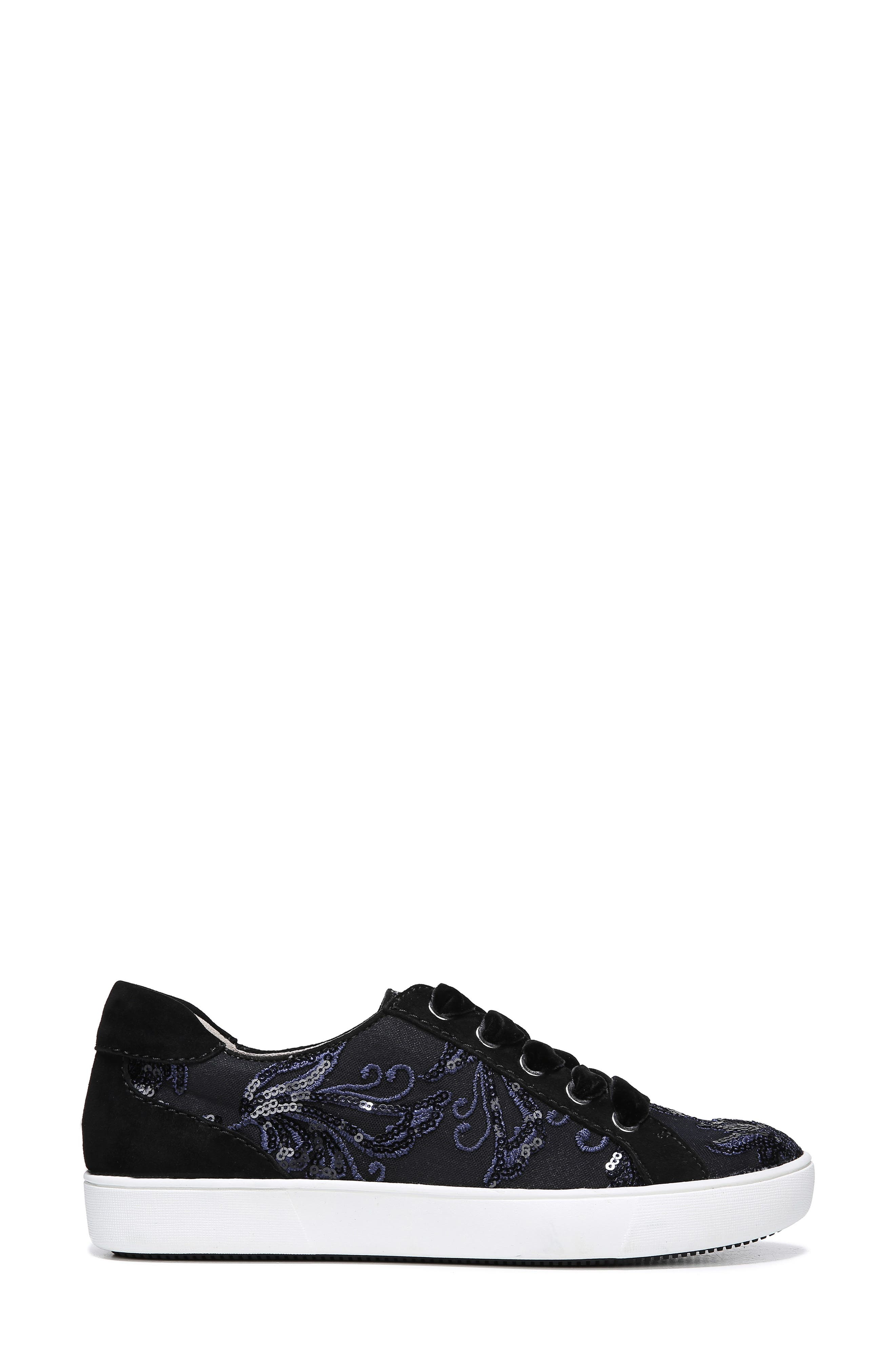 NATURALIZER, Morrison Sneaker, Alternate thumbnail 3, color, NAVY EMBROIDERED LACE