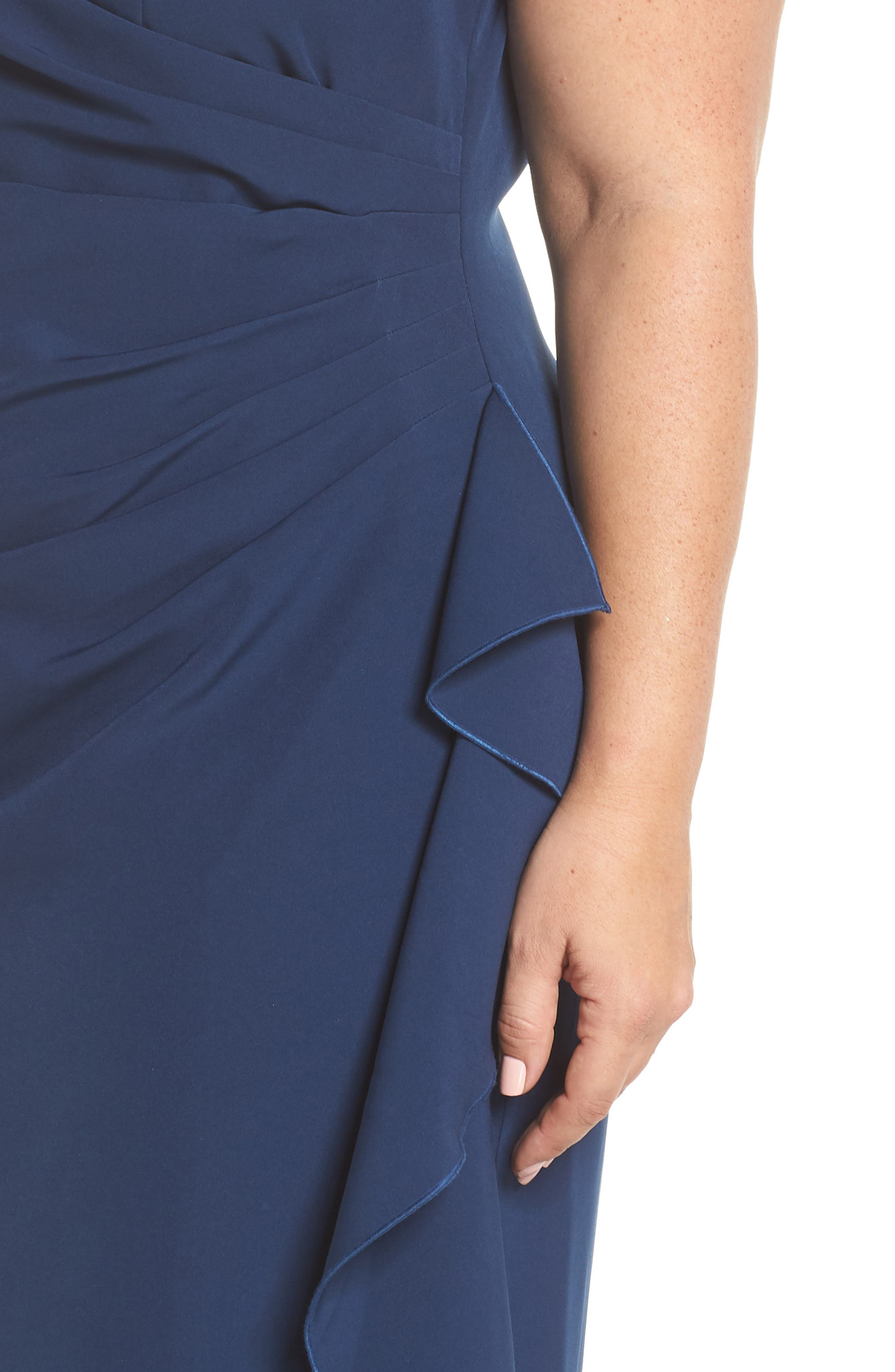 VINCE CAMUTO, Side Drape Ruffle Gown, Alternate thumbnail 5, color, 421