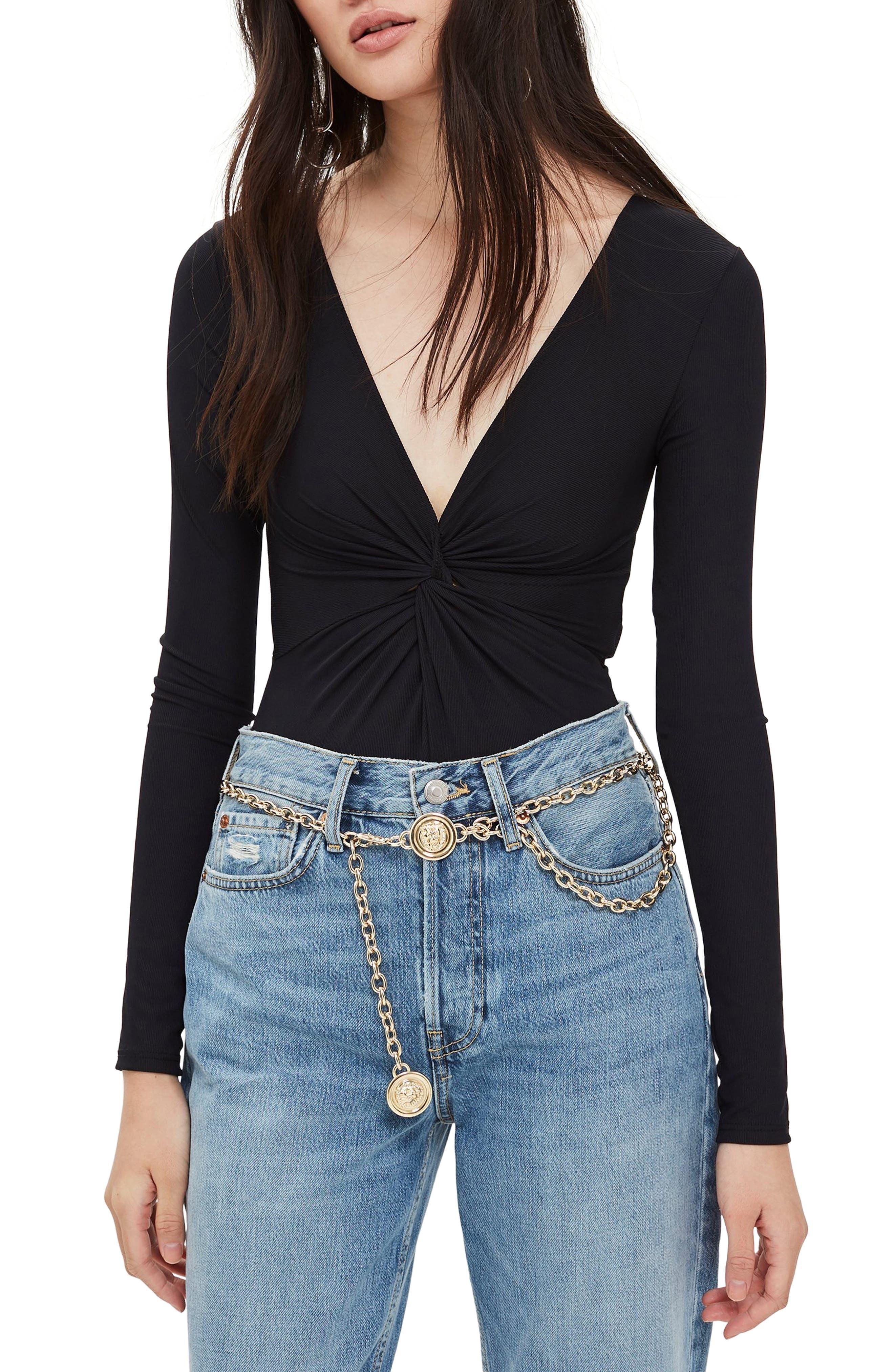 TOPSHOP Twist Bodysuit, Main, color, BLACK