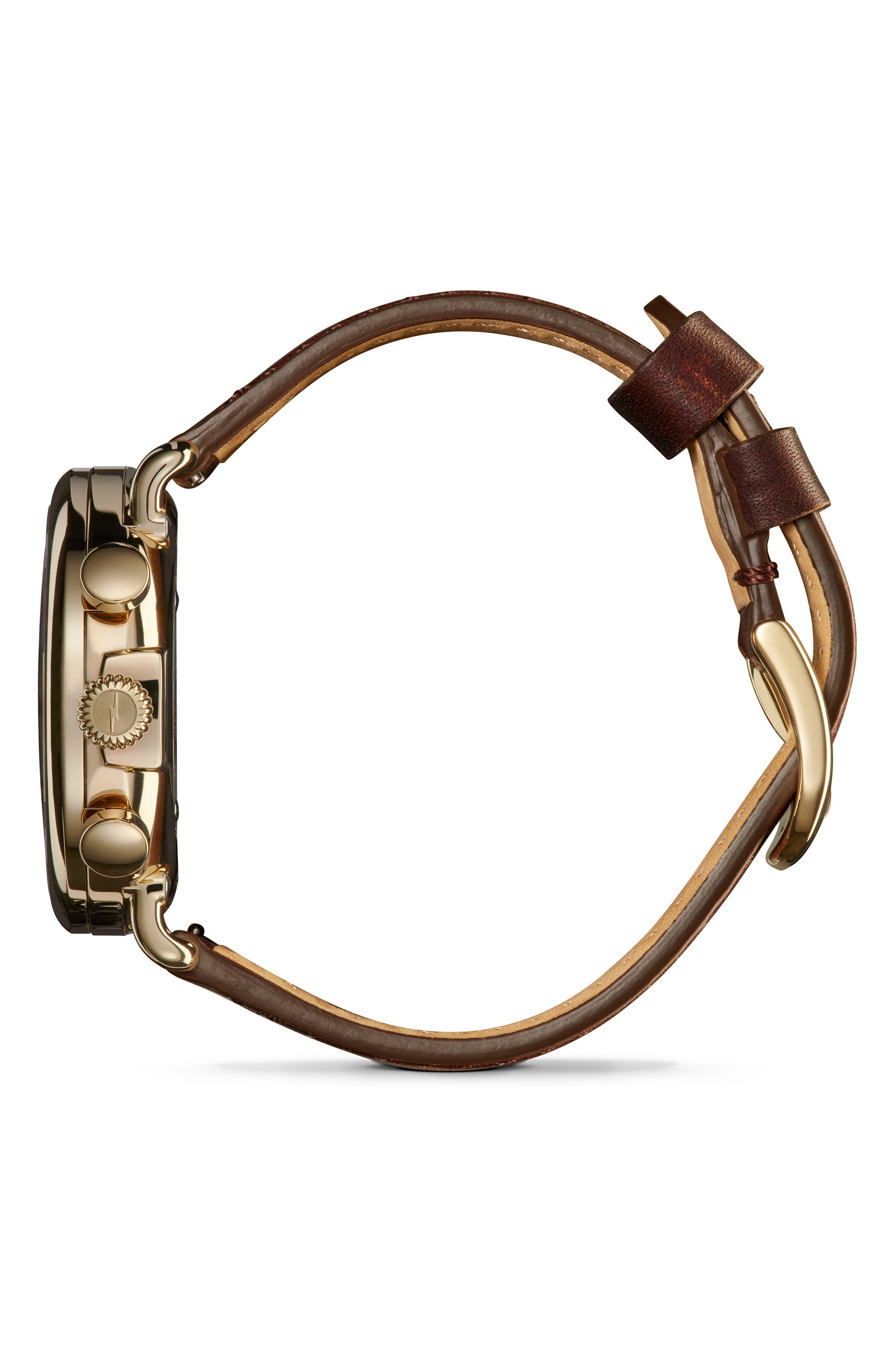SHINOLA, 'The Runwell Chrono' Leather Strap Watch, 41mm, Alternate thumbnail 4, color, BROWN CATTAIL/ IVORY/ GOLD