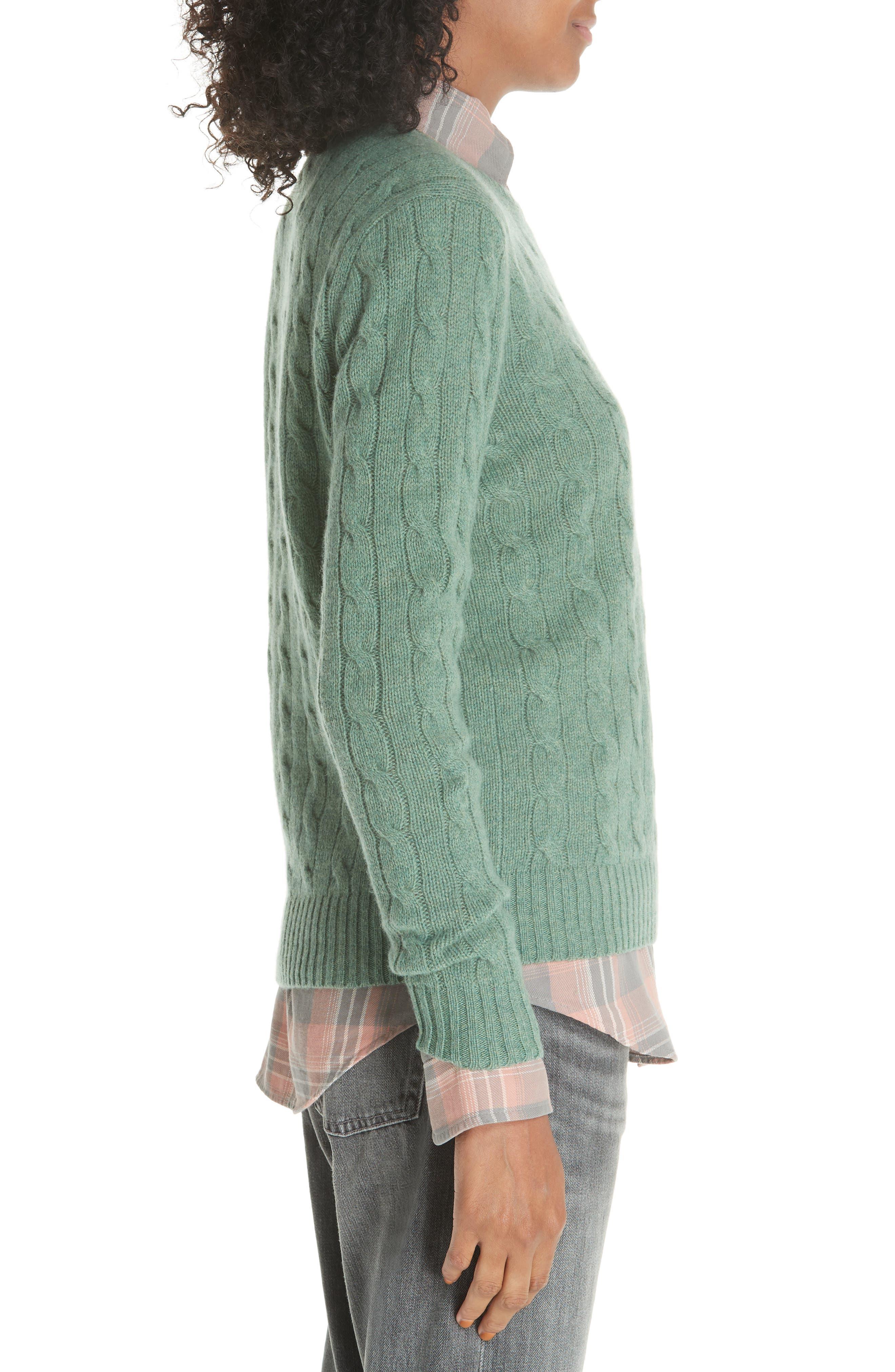 POLO RALPH LAUREN, Cable Knit Cotton Sweater, Alternate thumbnail 3, color, 300