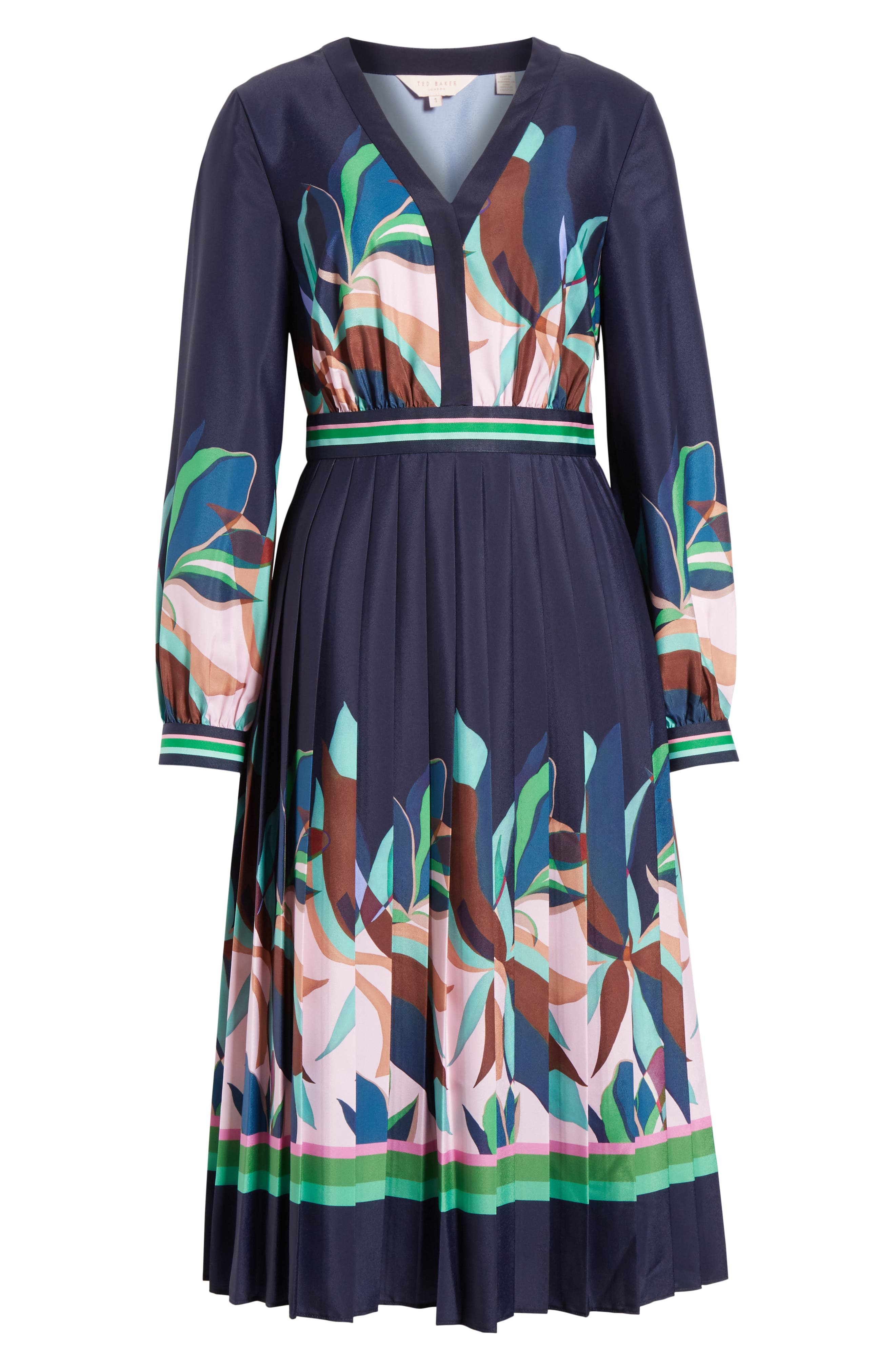 TED BAKER LONDON, Leonore Supernatural Fit & Flare Dress, Alternate thumbnail 6, color, NAVY
