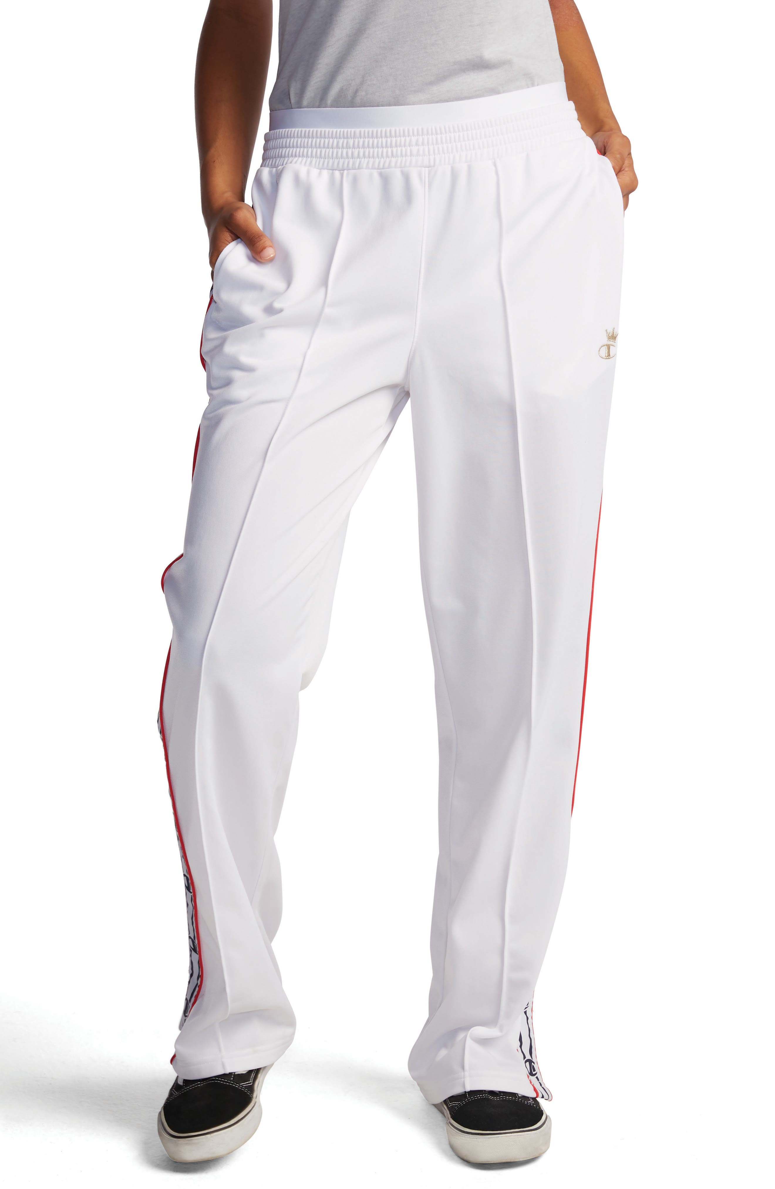 CHAMPION Logo Tape Track Pants, Main, color, WHITE