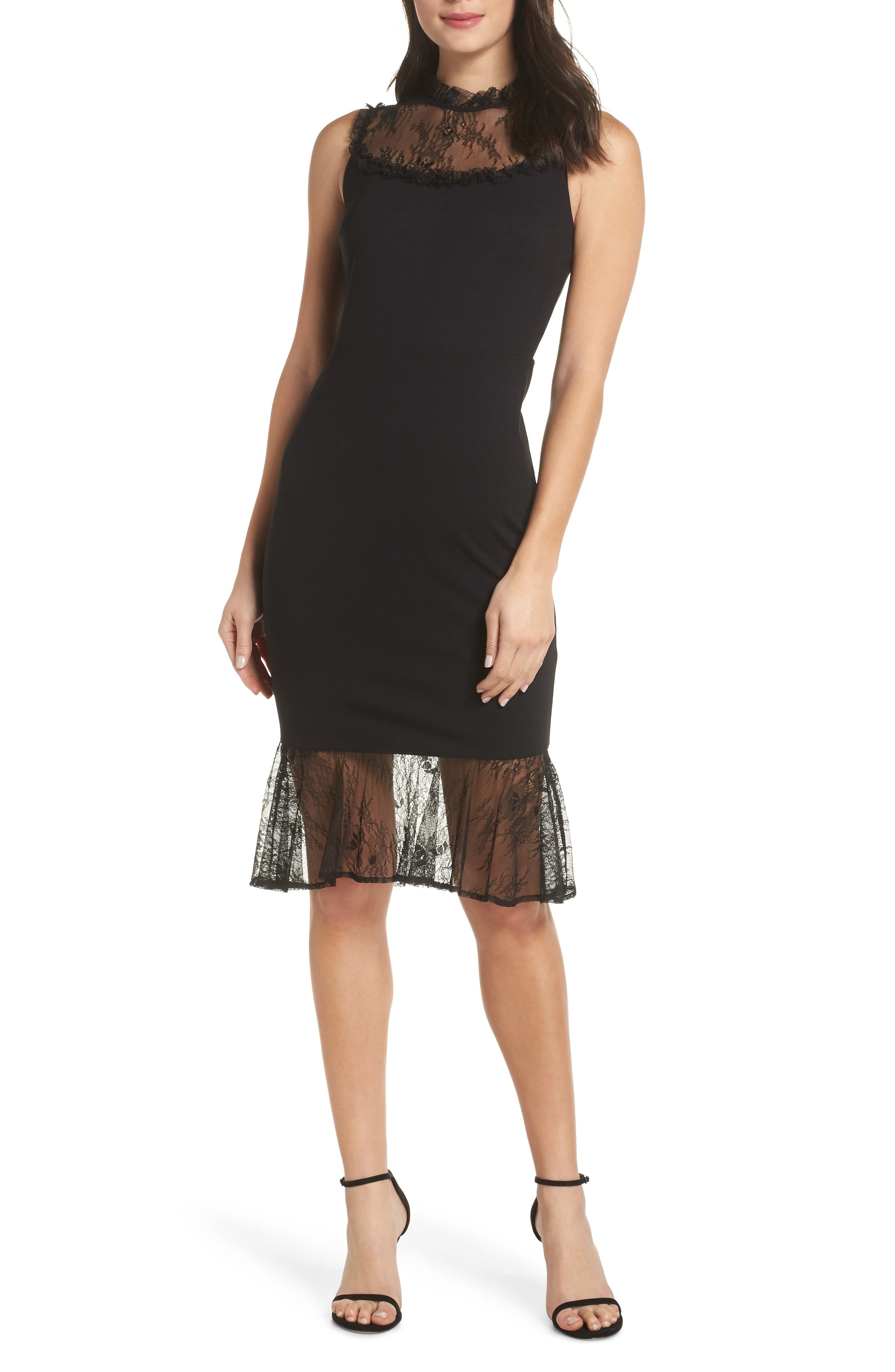 ALI & JAY, Two to Tango Lace Detail Dress, Main thumbnail 1, color, 001