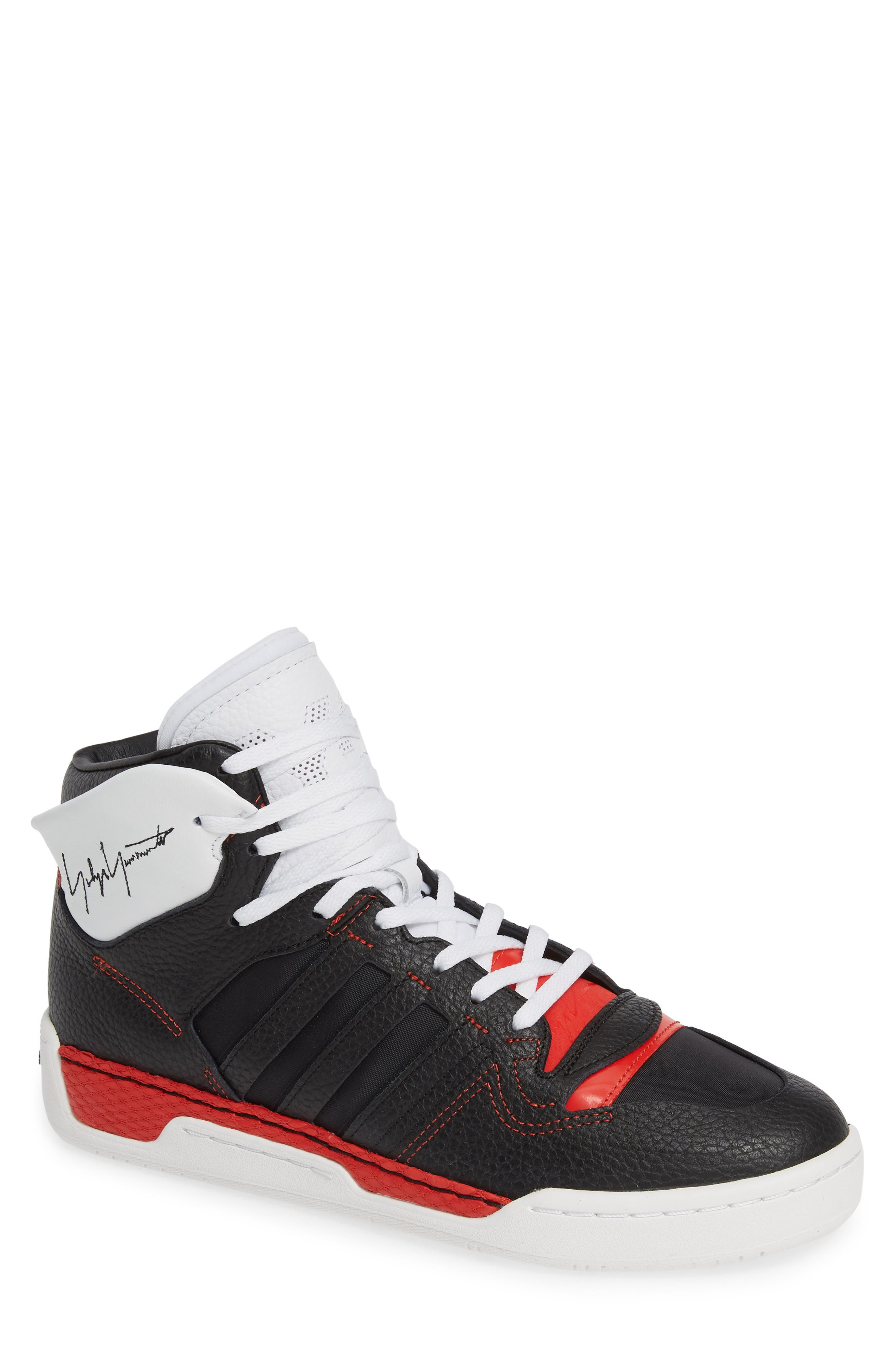Y-3, x adidas Hayworth High Top Sneaker, Main thumbnail 1, color, BLACK/ BLACK/ RED