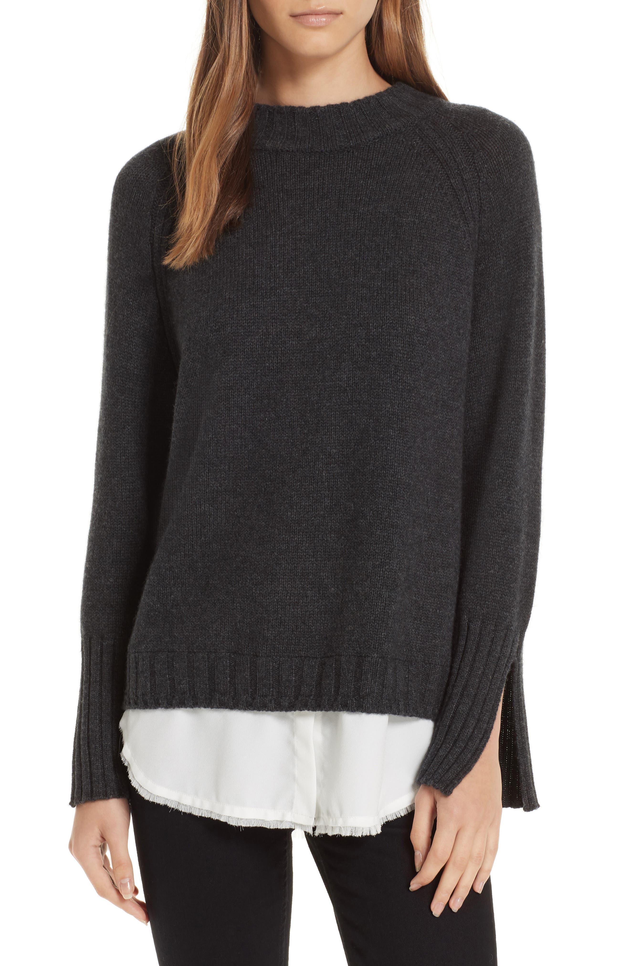 Brochu Walker Strand Layered Wool Cashmere Sweater, Grey