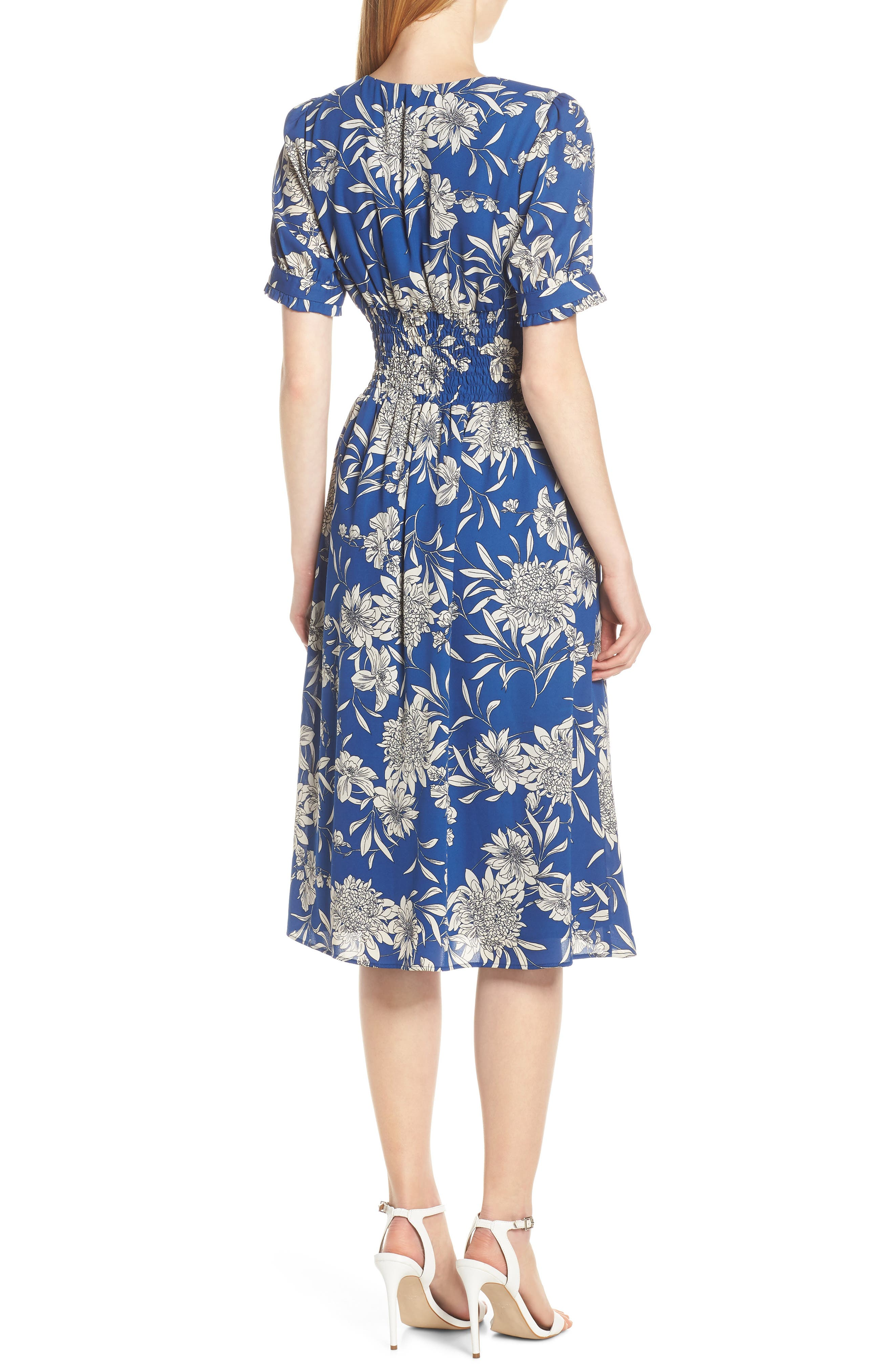 19 COOPER, Shirred Waist Midi Dress, Alternate thumbnail 2, color, BLUE/ WHITE
