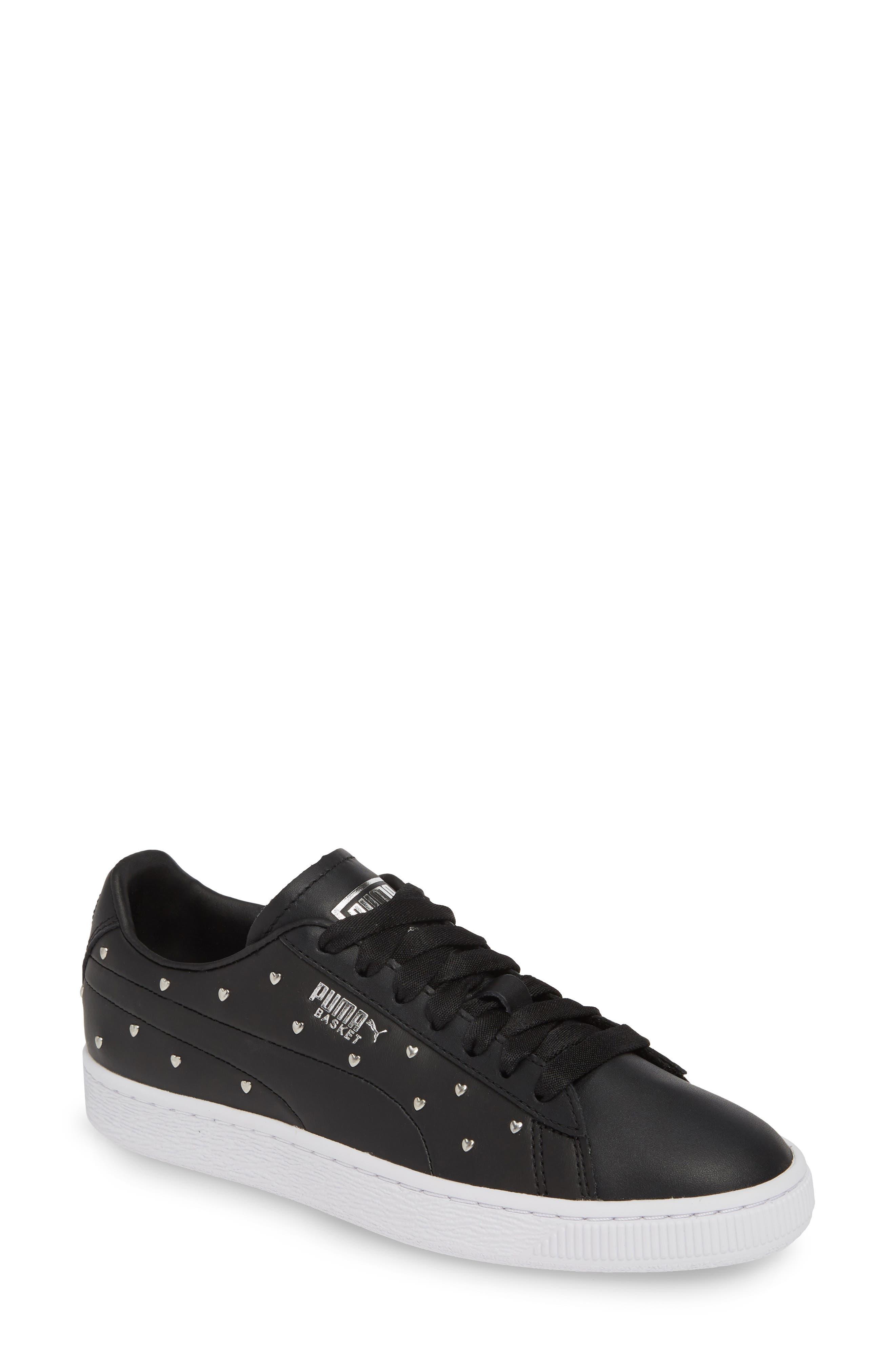 PUMA, Basket Studs Sneaker, Main thumbnail 1, color, BLACK/ SILVER