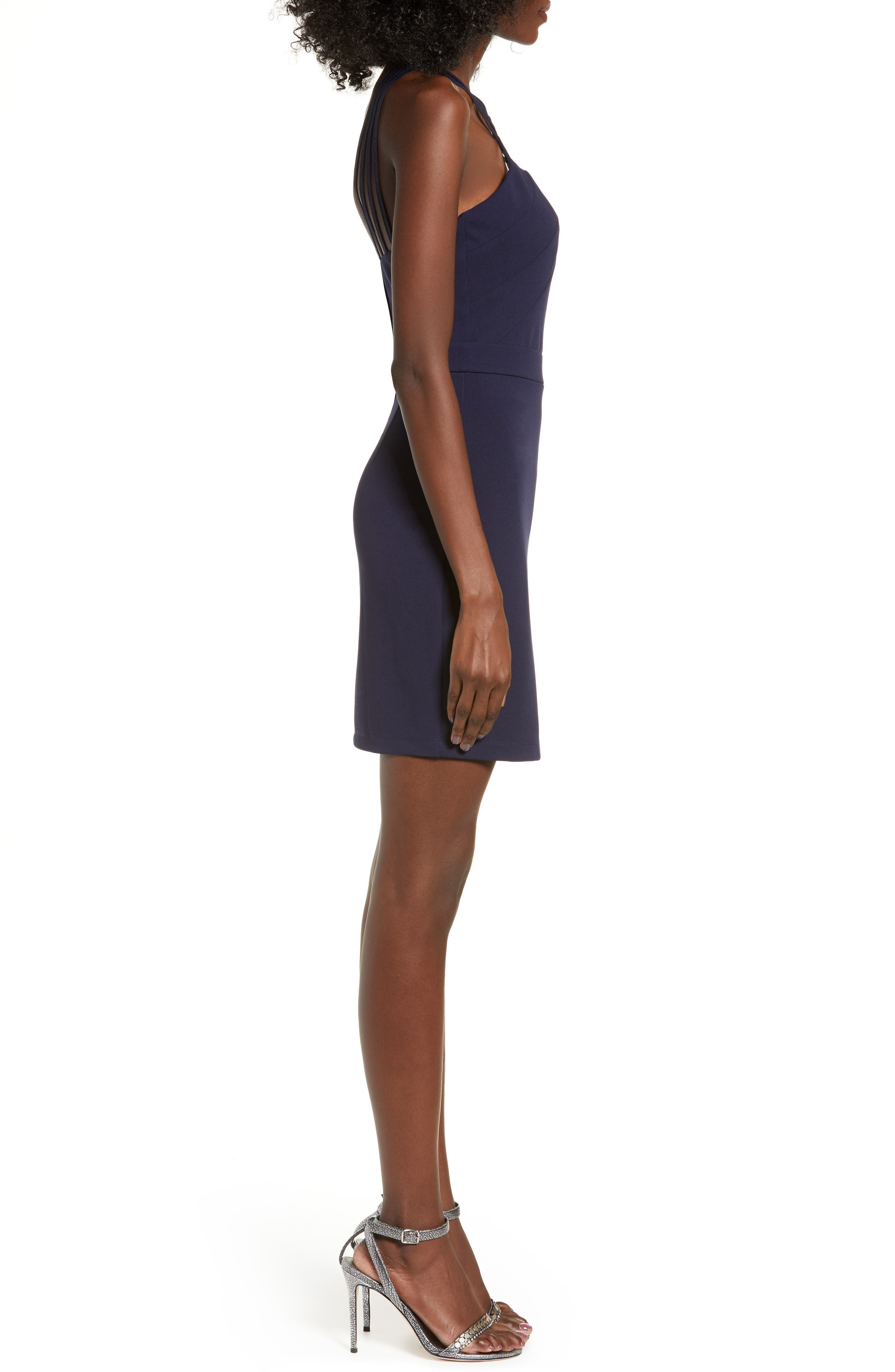 LOVE, NICKIE LEW, Lattice Strap Body-Con Dress, Alternate thumbnail 4, color, 400