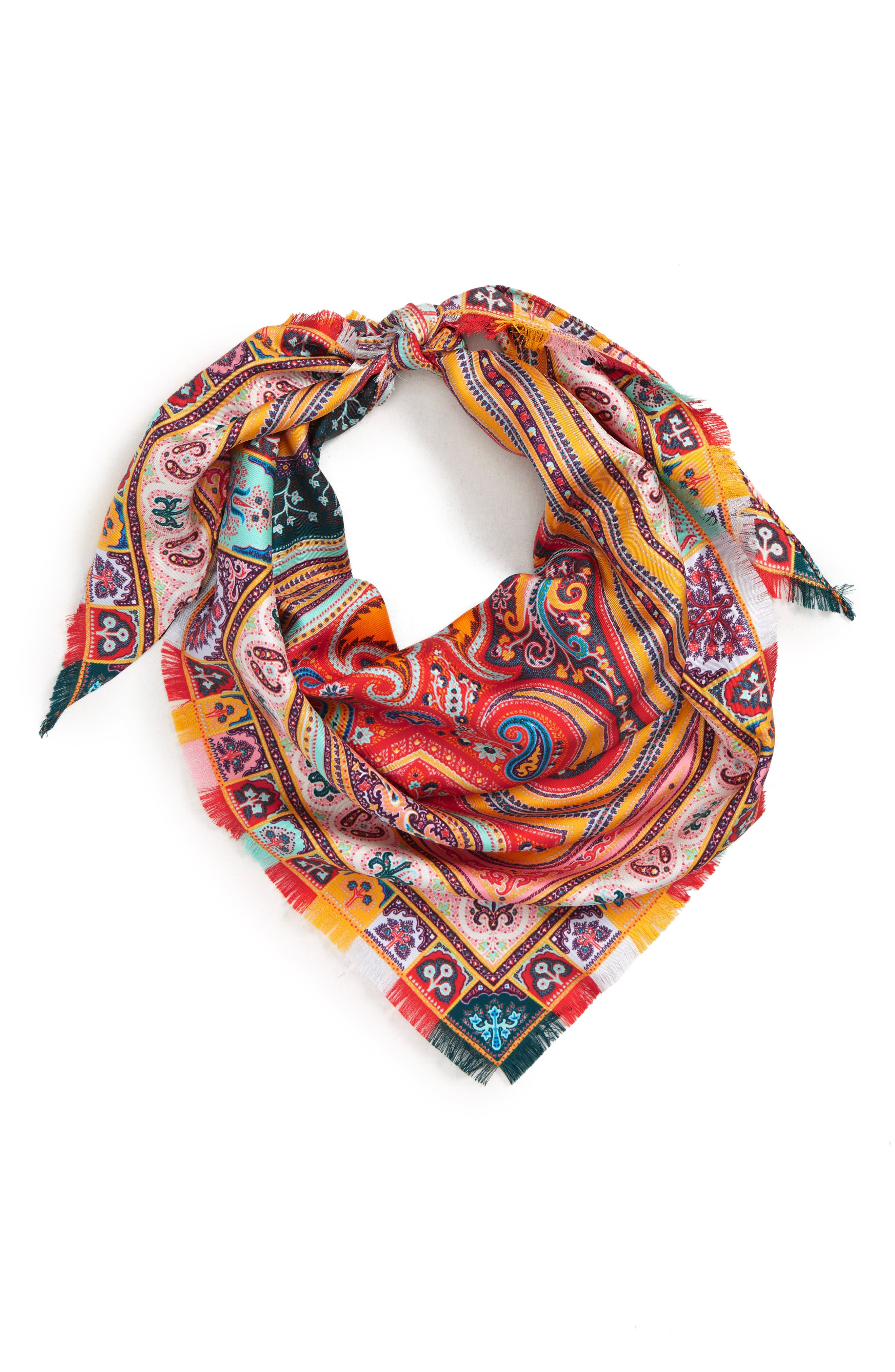ETRO, Silk Triangle Scarf, Alternate thumbnail 2, color, ORANGE