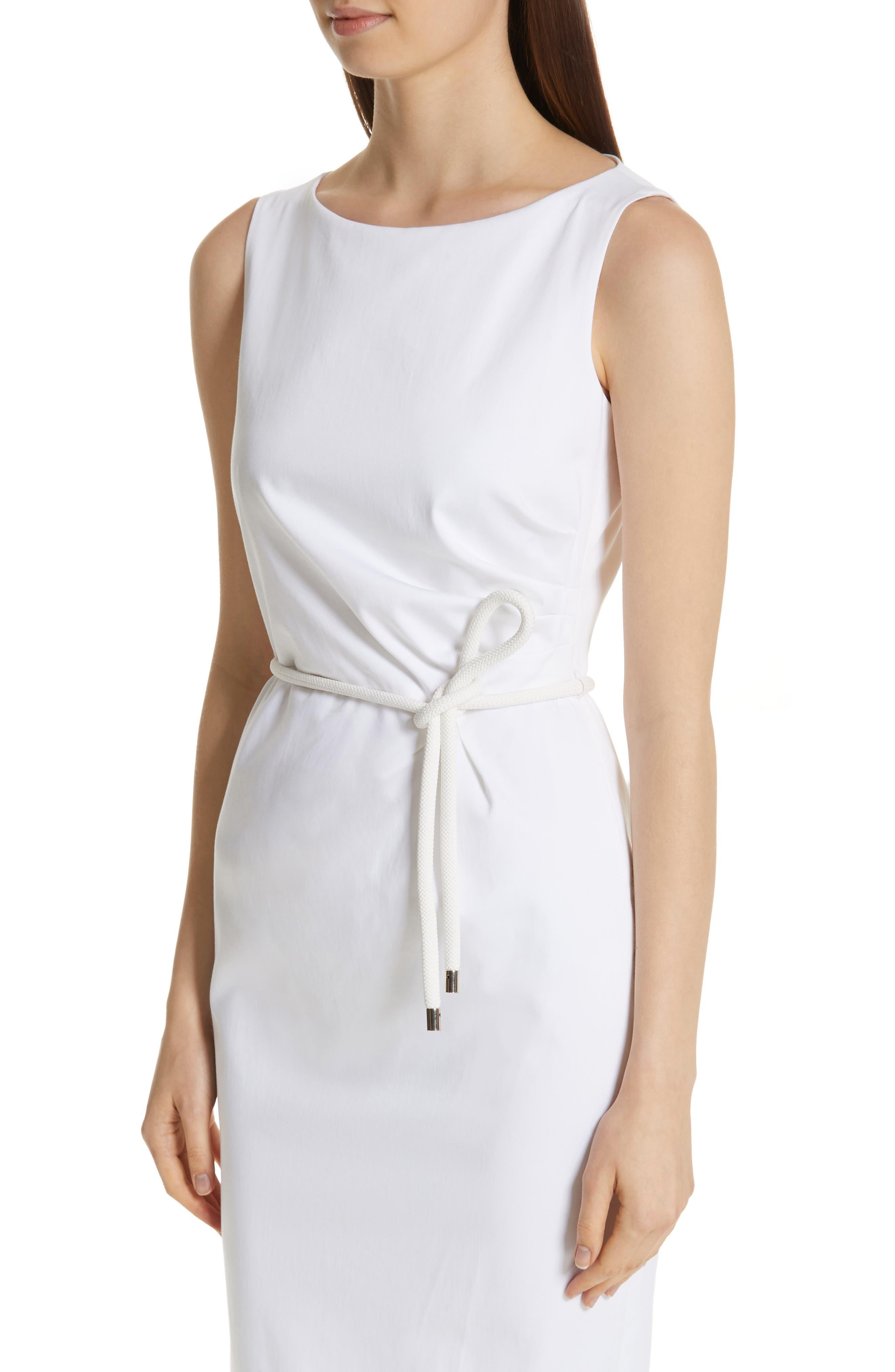 MAX MARA, Cordoba Sheath Dress, Alternate thumbnail 6, color, OPTICAL WHITE