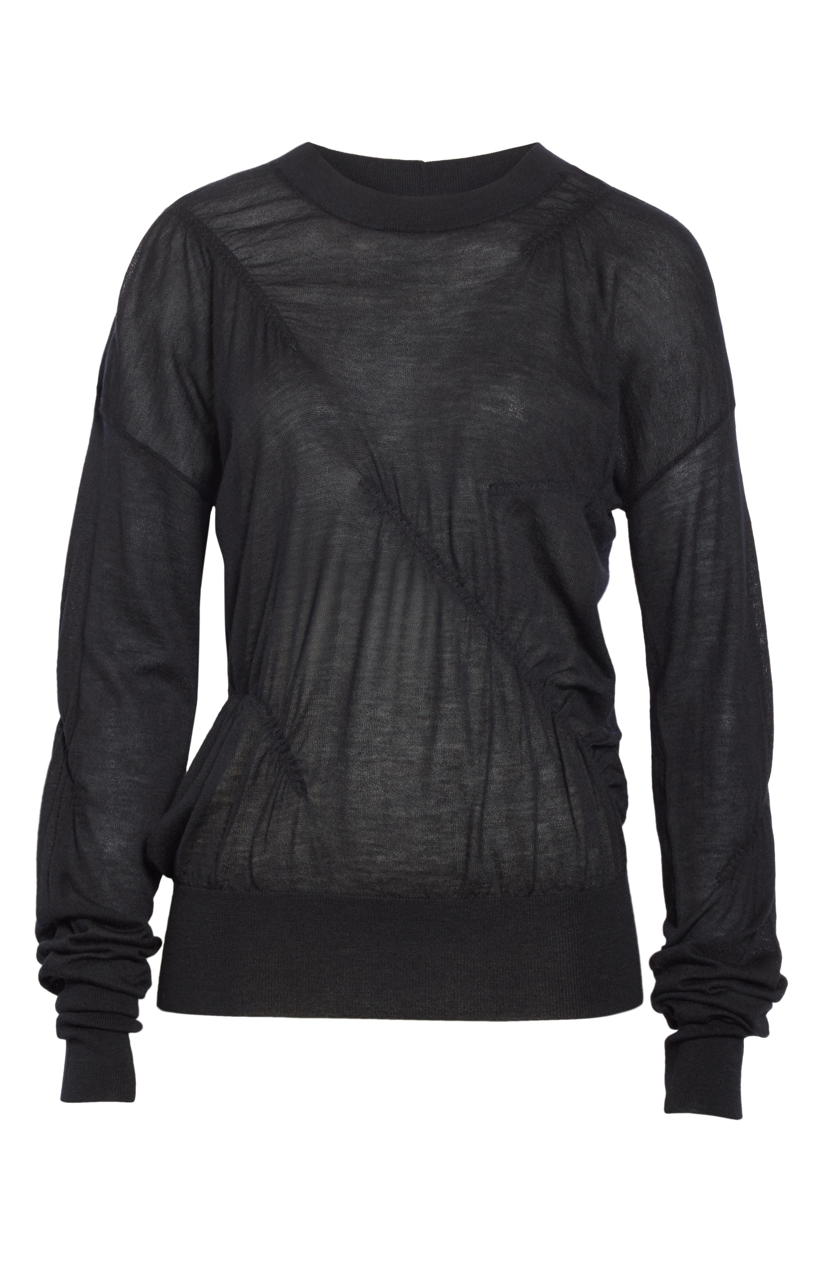 HELMUT LANG, Ruched Seam Detail Cashmere Sweater, Alternate thumbnail 6, color, BLACK