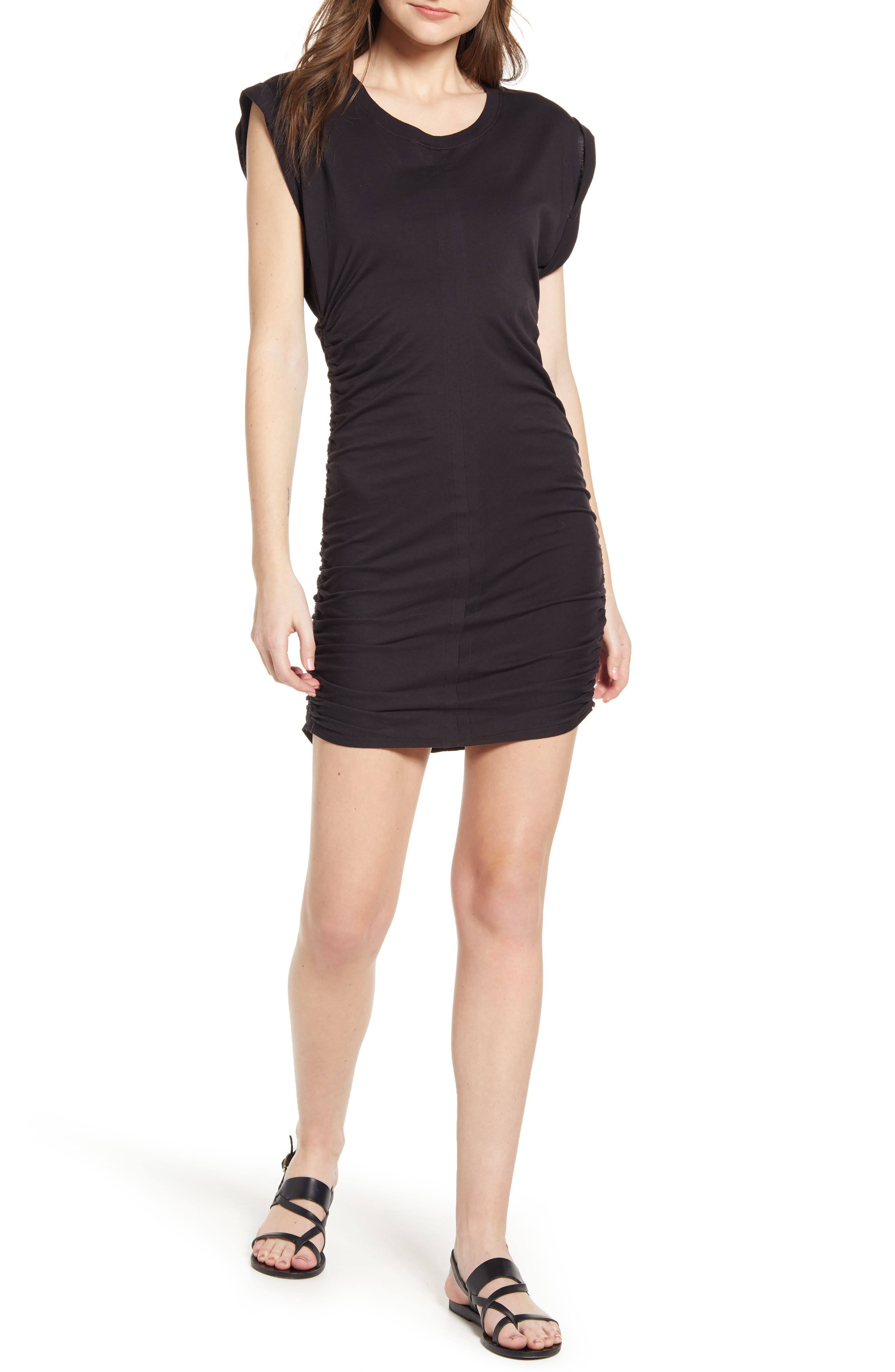 Splendid Ruched Jersey Minidress, Black