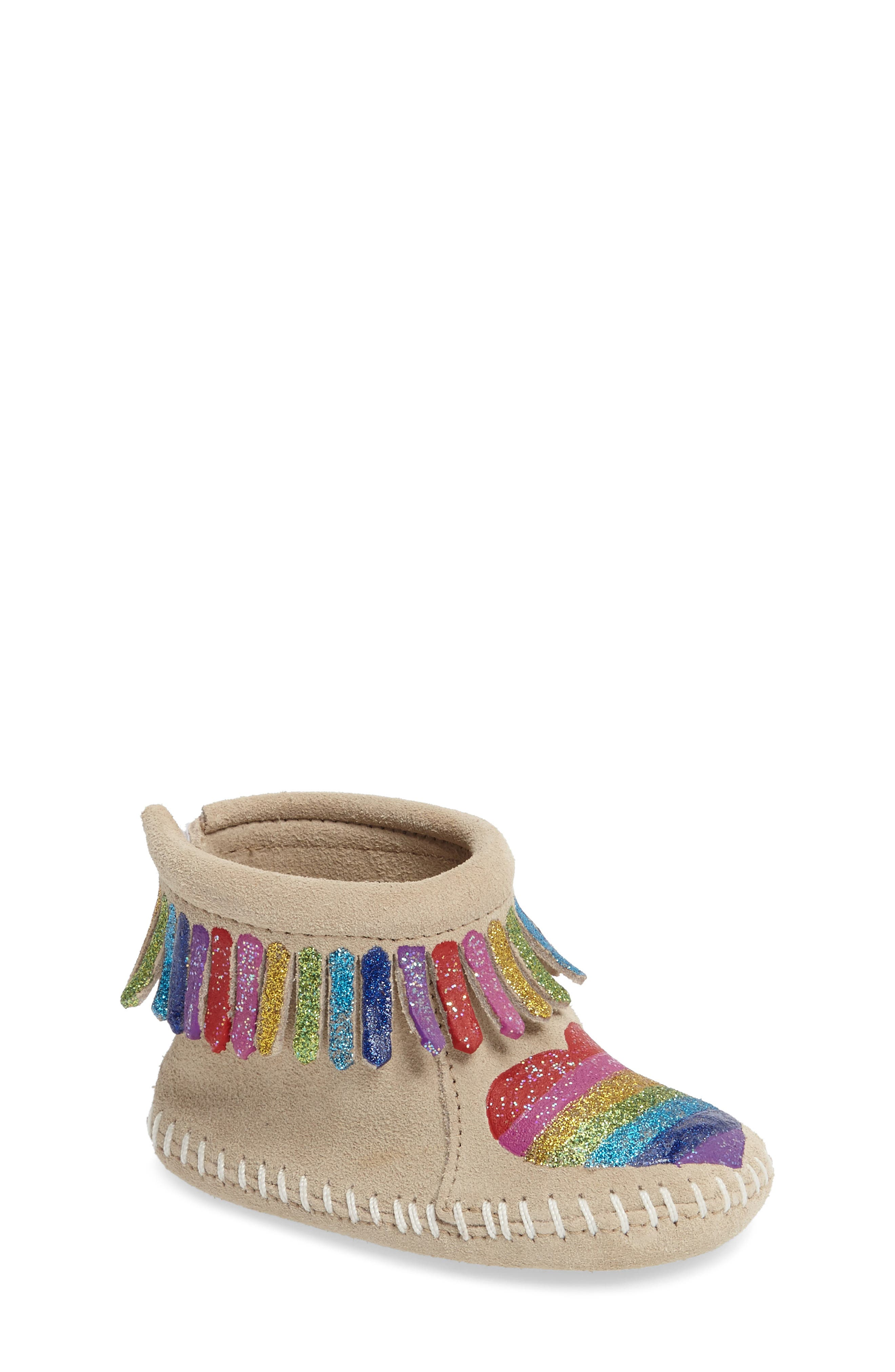 MINNETONKA x Free Range Mama Love One Another Bootie, Main, color, STONE