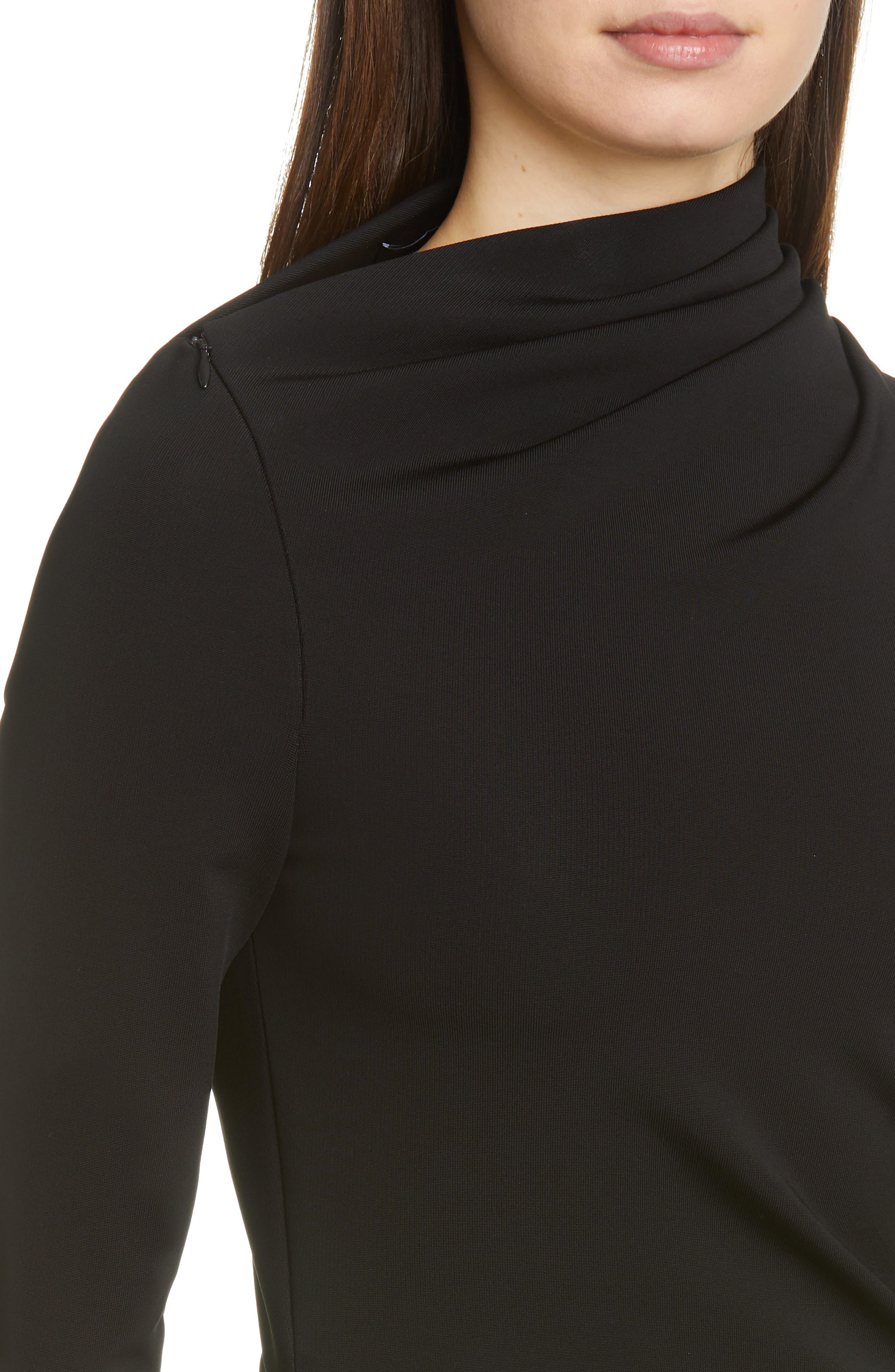 BRANDON MAXWELL, Side Drape Jersey Dress, Alternate thumbnail 5, color, BLACK