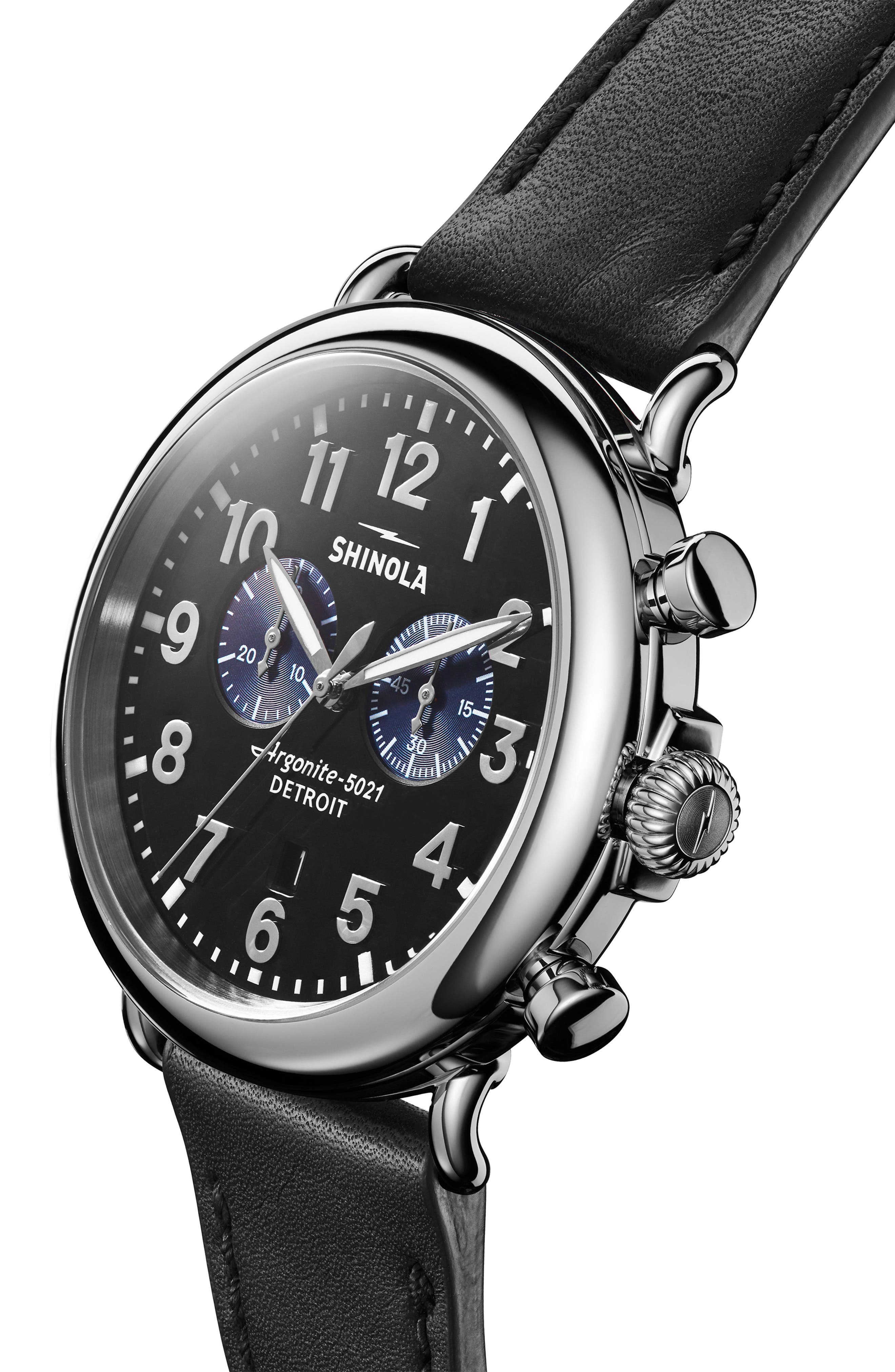 SHINOLA, The Runwell Chrono Leather Strap Watch, 47mm, Alternate thumbnail 6, color, 002