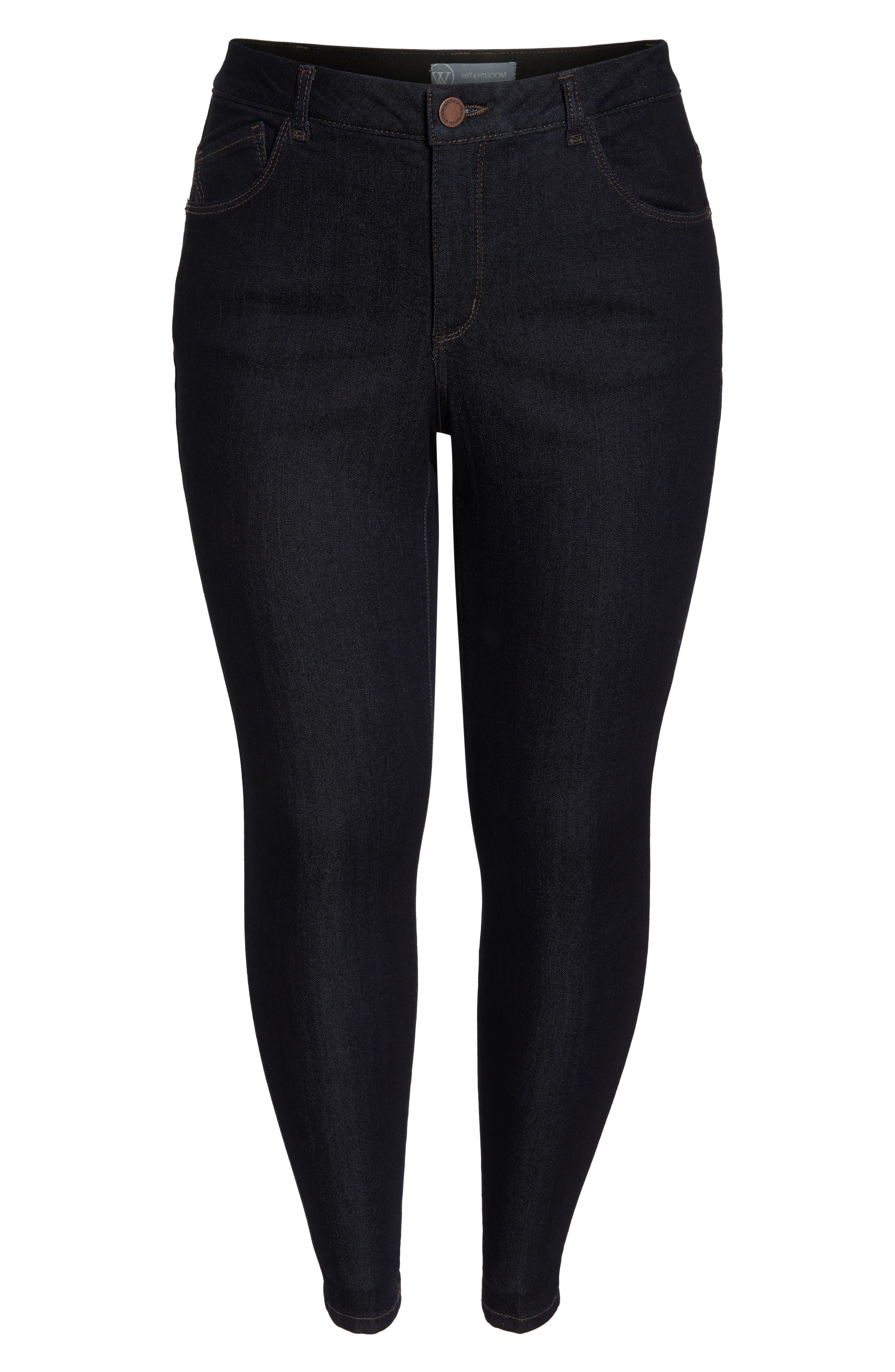WIT & WISDOM, 30/11 Ab-solution High Waist Skinny Jeans, Alternate thumbnail 6, color, INDIGO