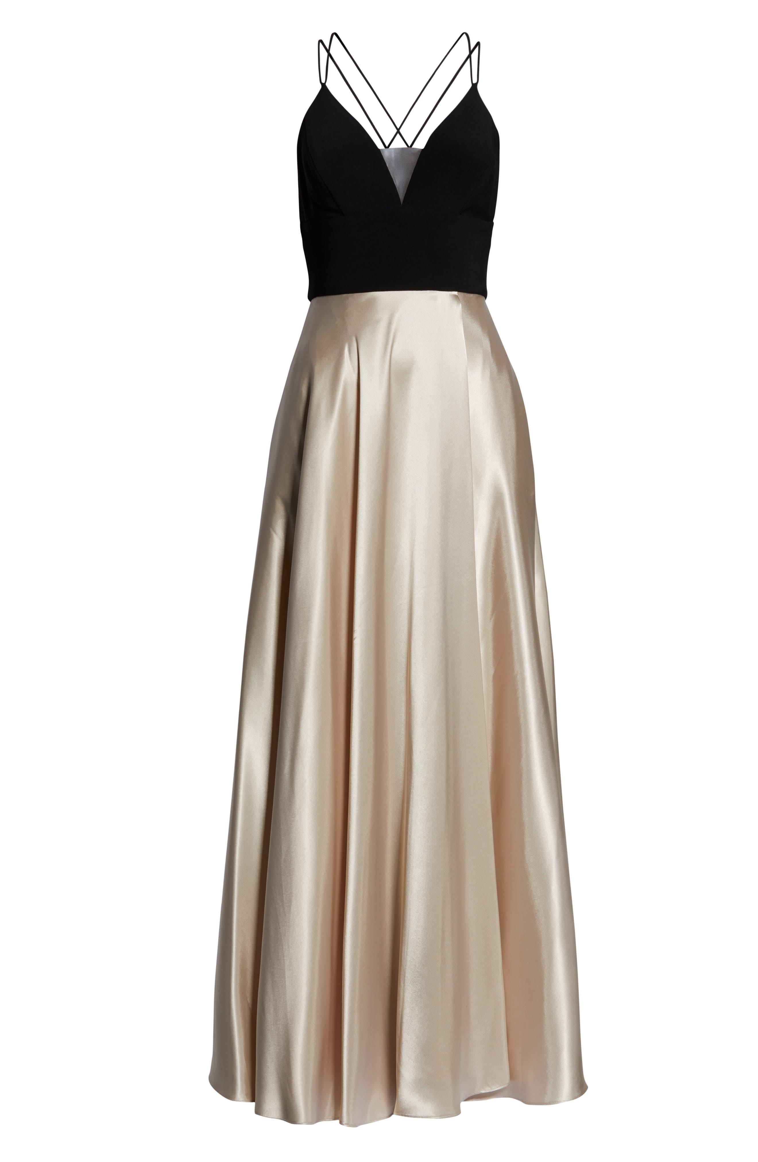 BLONDIE NITES, Strappy Back Crepe & Charmeuse Evening Dress, Alternate thumbnail 7, color, BLACK/ GOLD
