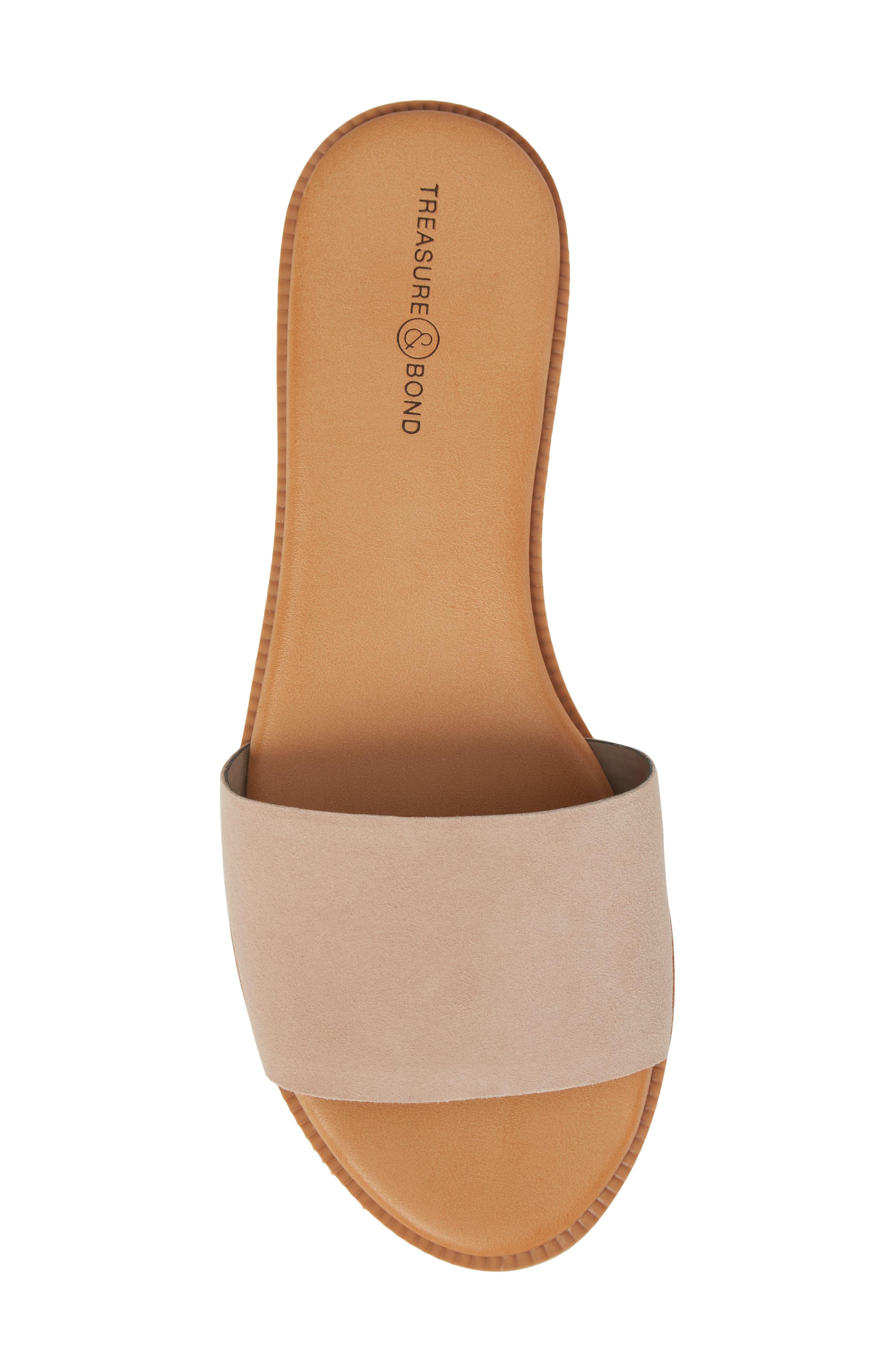 TREASURE & BOND, Mere Flat Slide Sandal, Alternate thumbnail 5, color, NEW BLUSH SUEDE