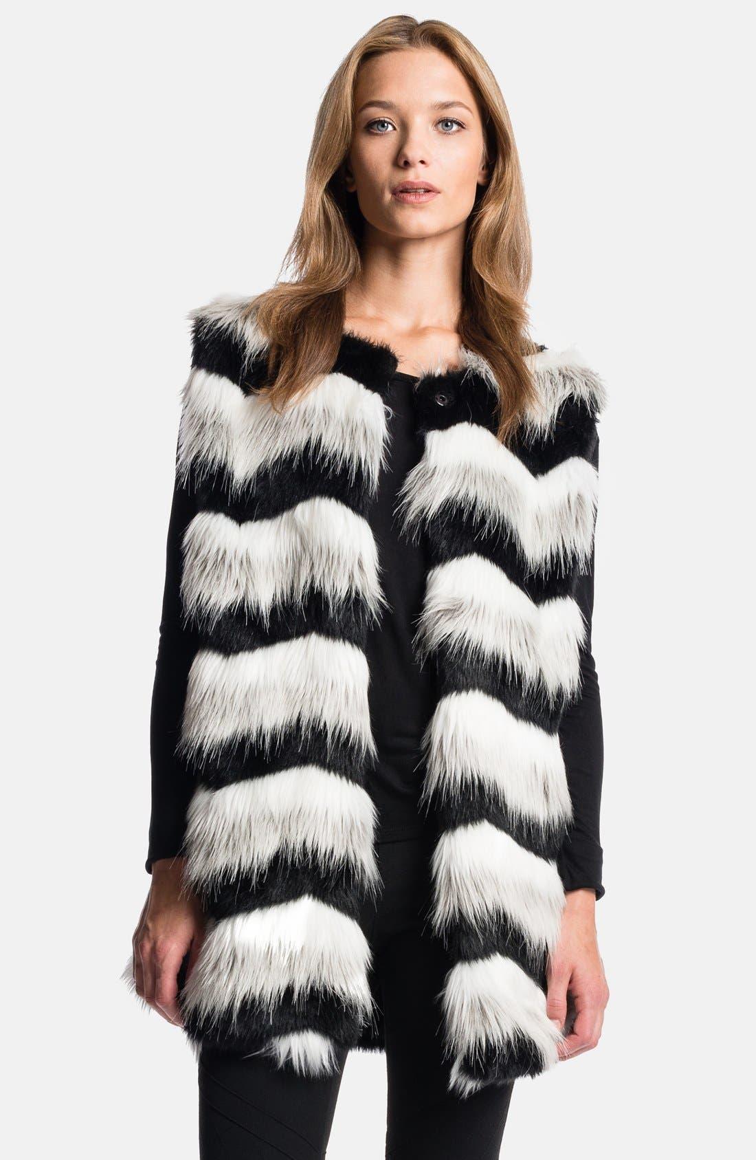 1.STATE, Chevron Faux Fur Vest, Main thumbnail 1, color, 060