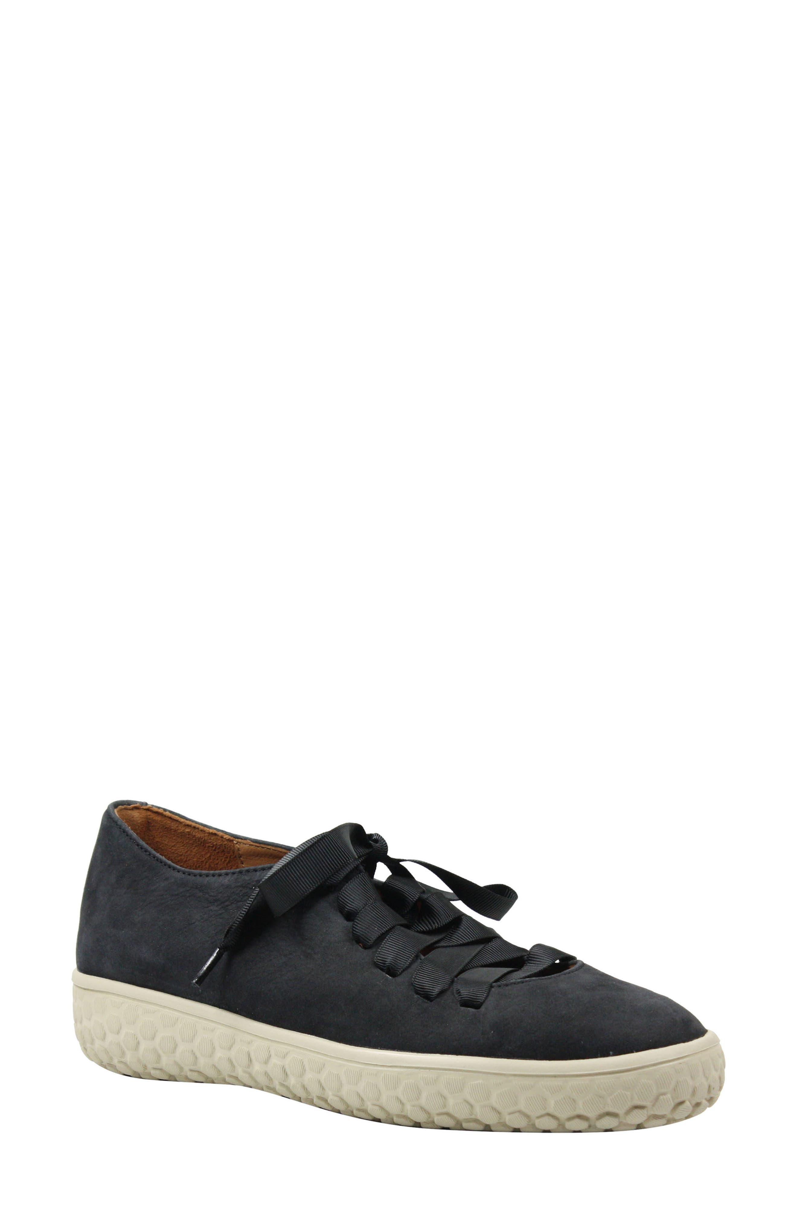 L'AMOUR DES PIEDS, Zaheera Sneaker, Main thumbnail 1, color, BLACK NUBUCK LEATHER