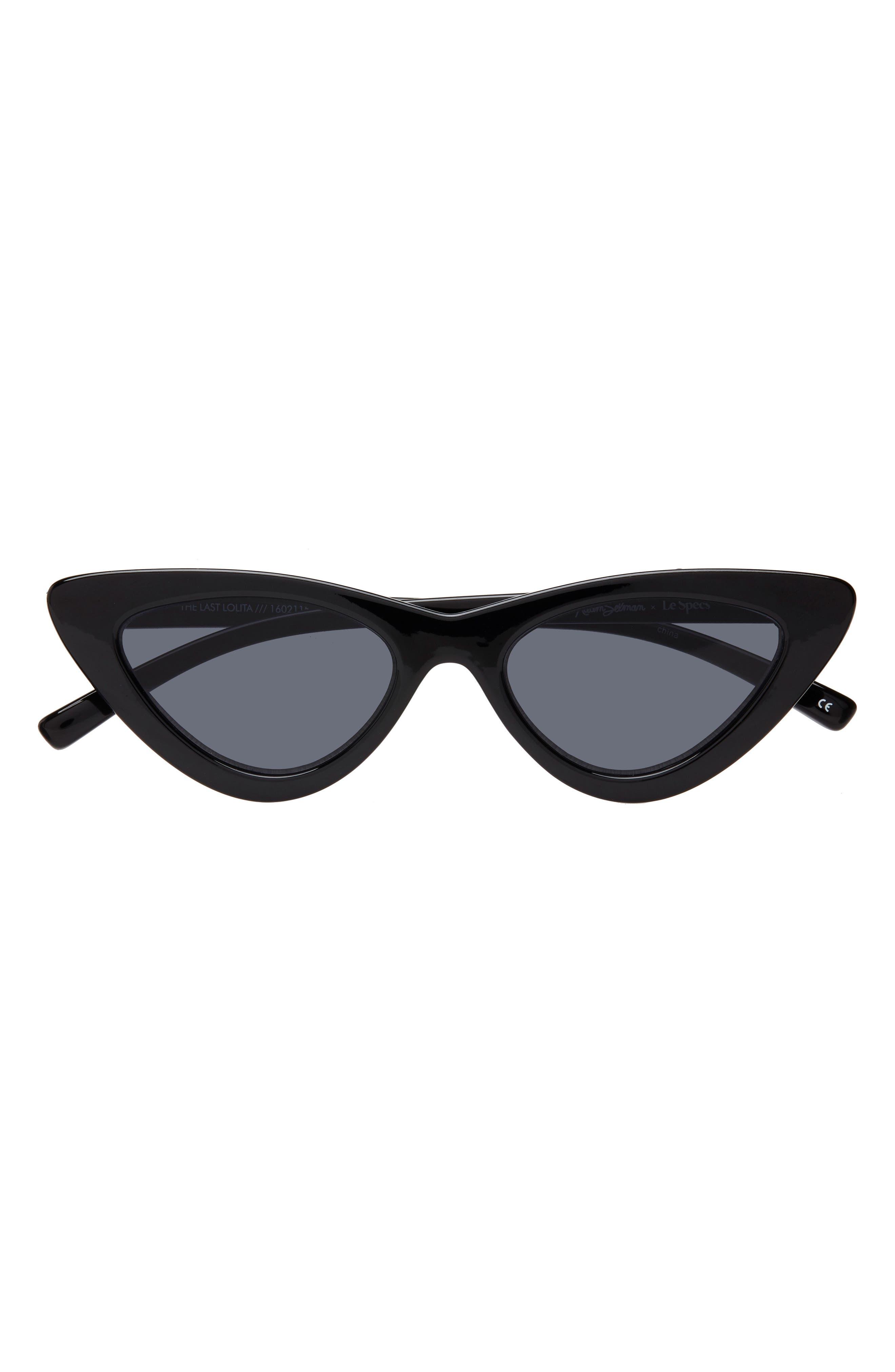 ADAM SELMAN X LE SPECS LUXE Lolita 49mm Cat Eye Sunglasses, Main, color, BLACK