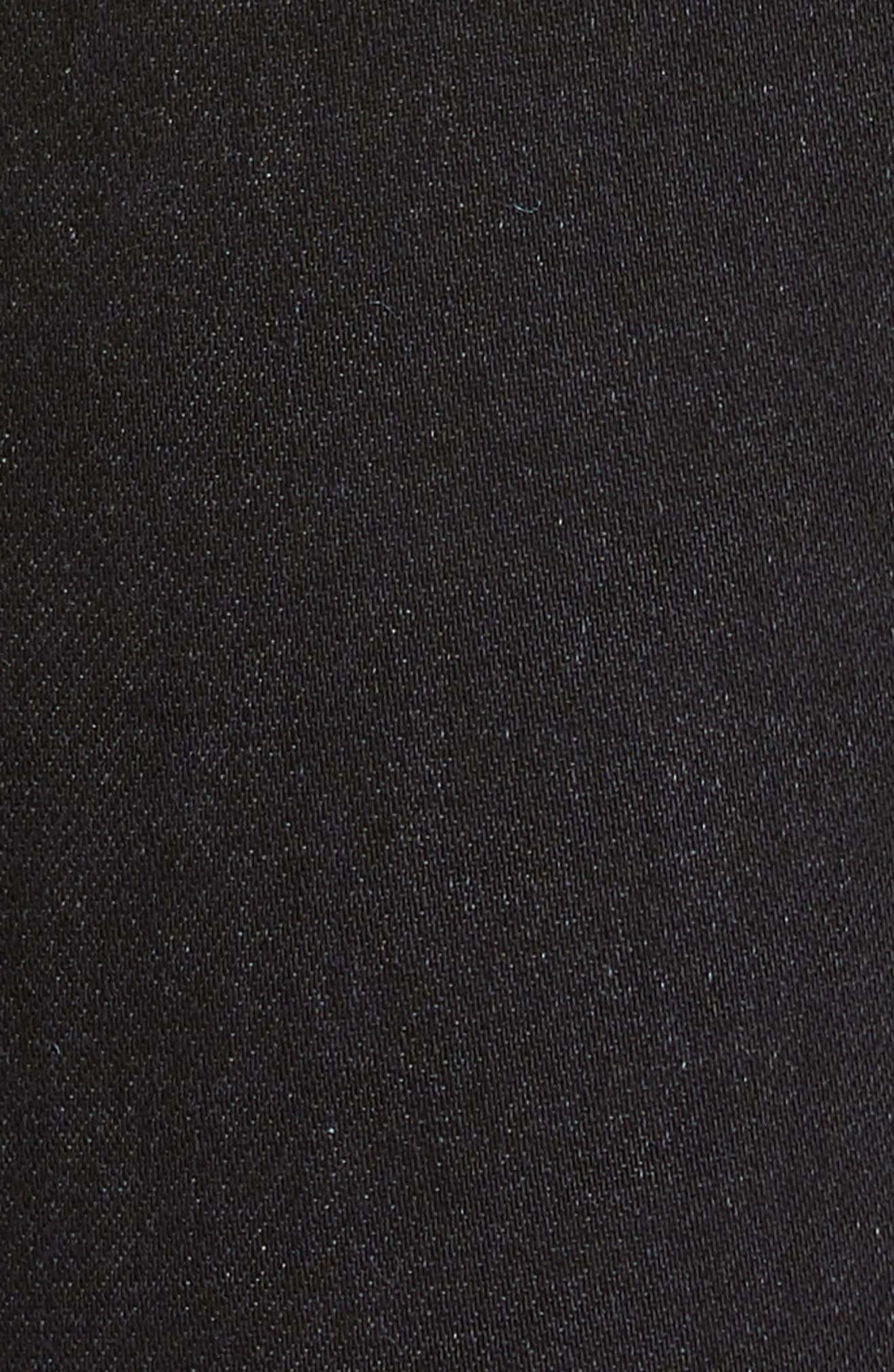 OFF-WHITE, Floral Embroidered Diagonal Stripe Skinny Jeans, Alternate thumbnail 5, color, VINTAGE BLACK